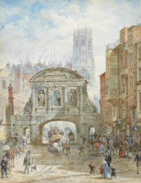 Horse-drawn carriages and figures before Temple Bar, London