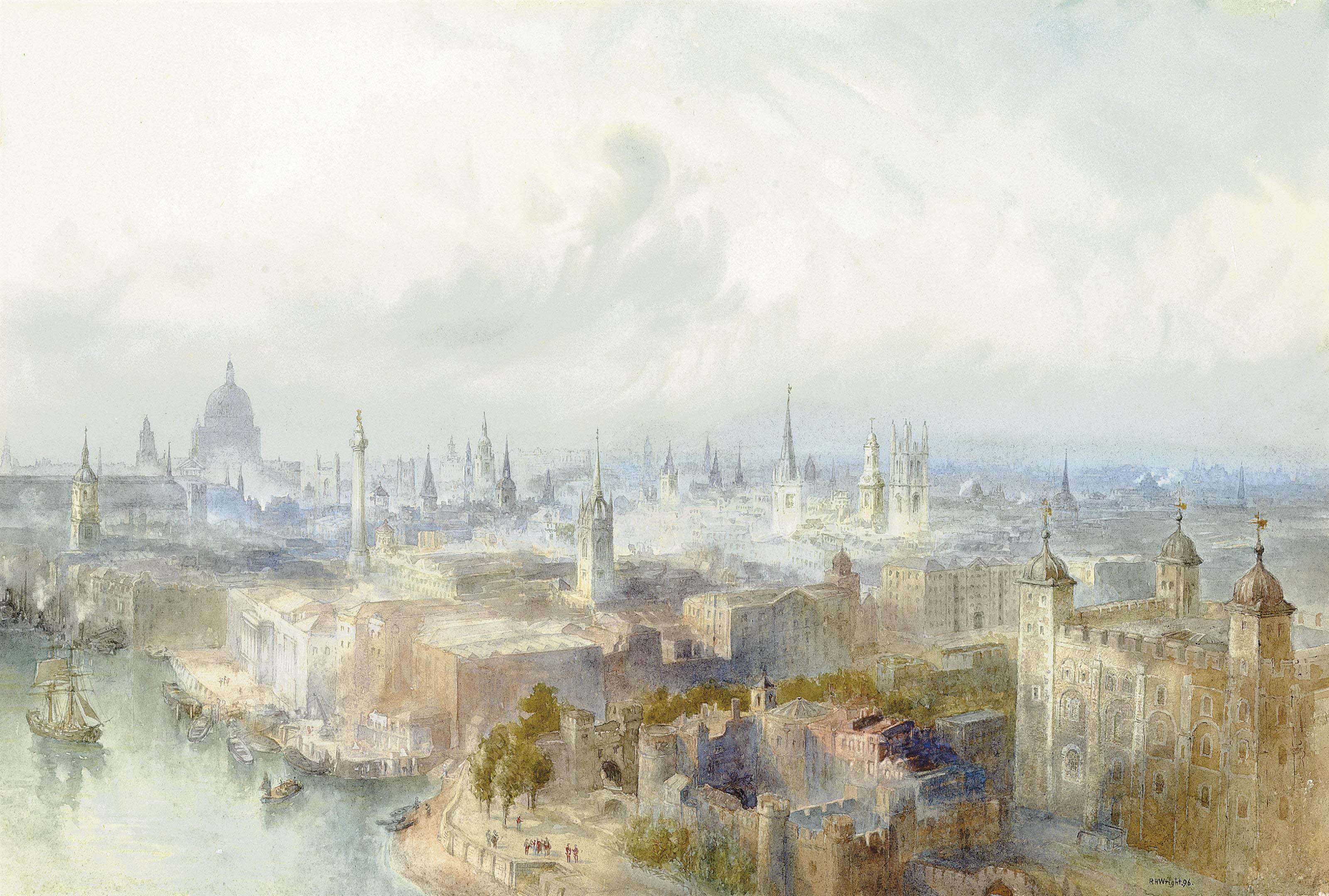An extensive view of London observed from Tower Bridge looking towards St. Paul's Cathedral