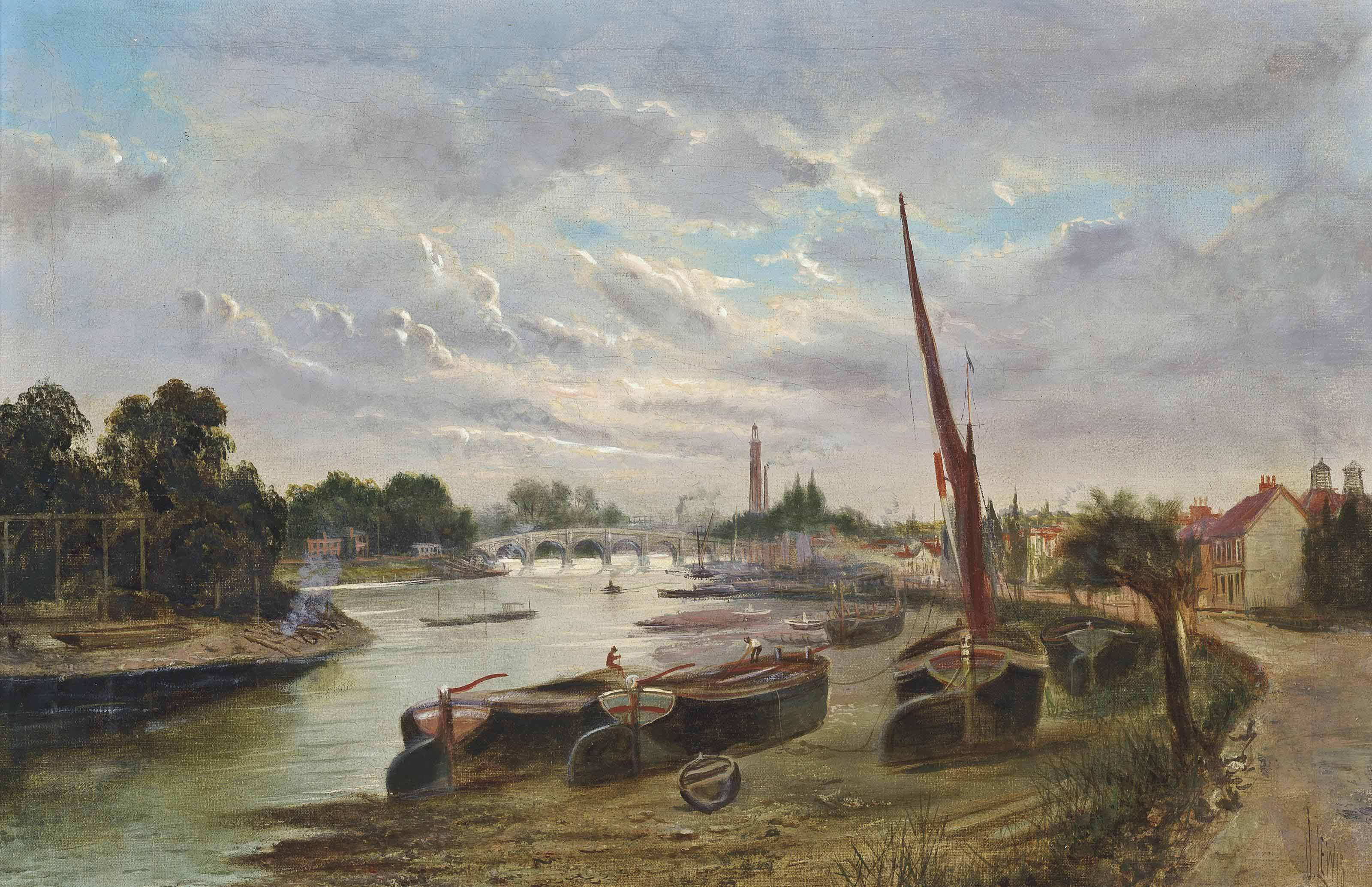 Low tide at Strand-on-the-Green, before Oliver's Island and Kew Bridge
