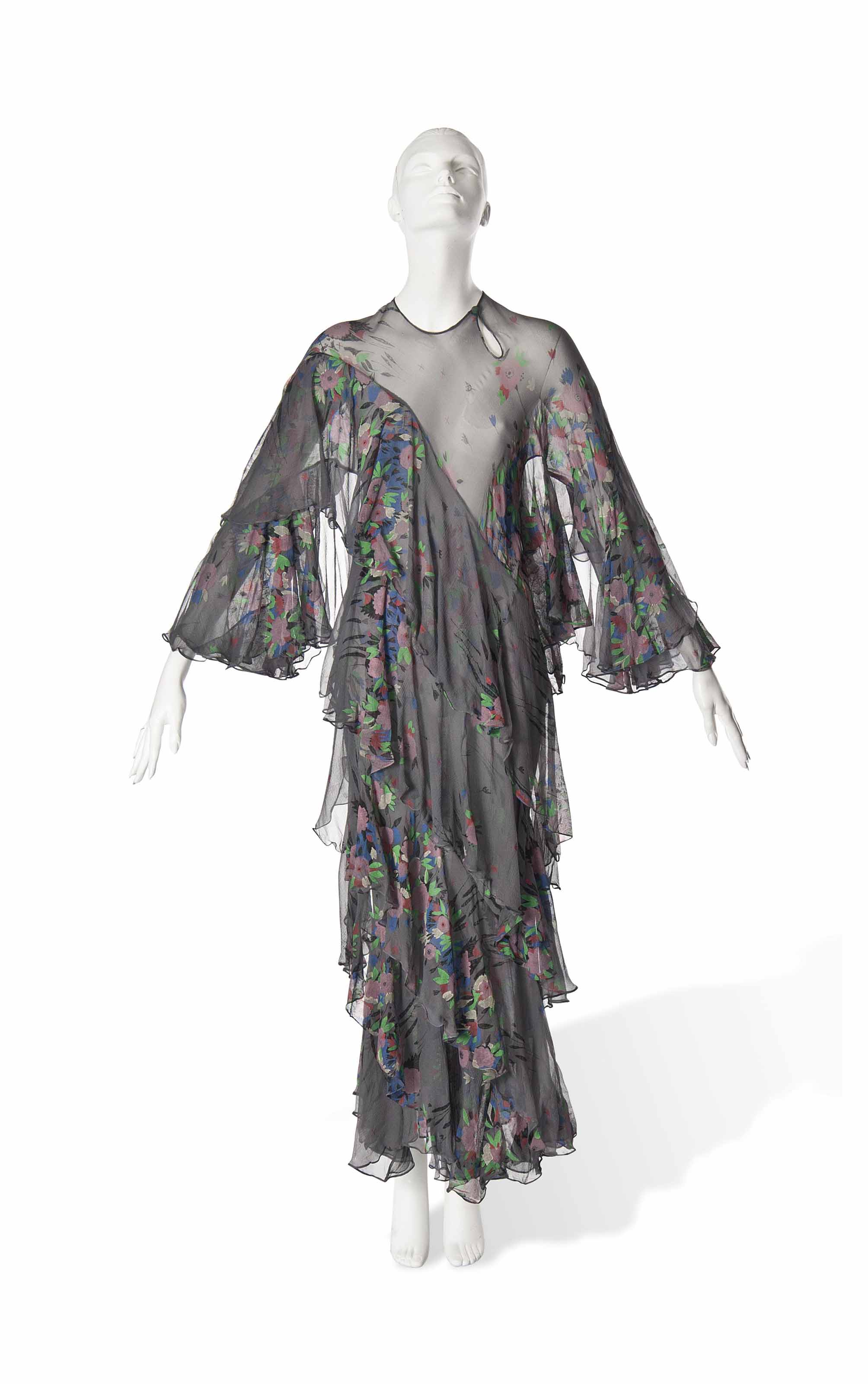 AN OSSIE CLARK AND CELIA BIRTWELL FOR QUORUM, BLACK SILK PRINTED CHIFFON DRESS