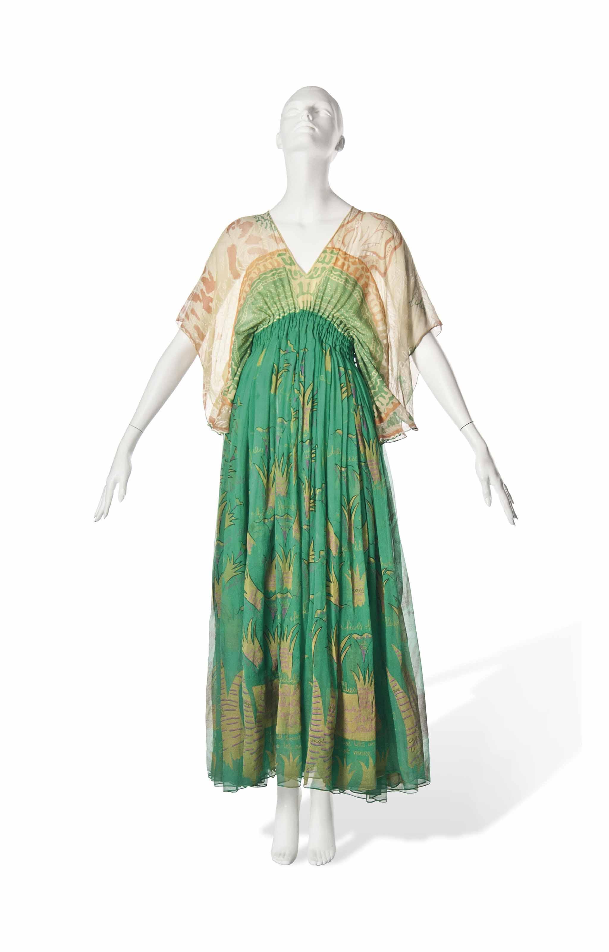 A ZANDRA RHODES CHIFFON DRESS