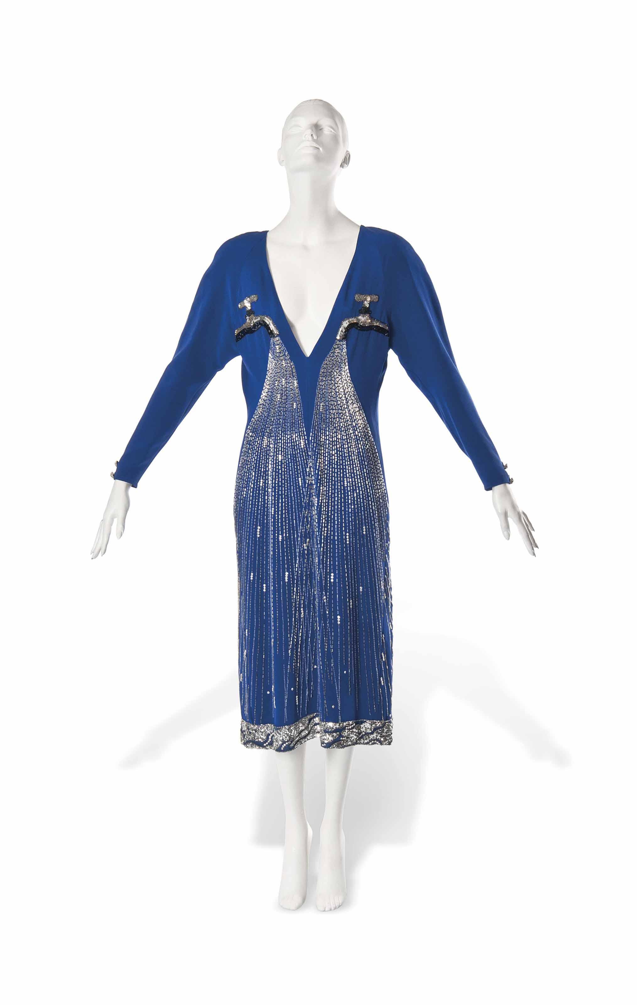 A KARL LAGERFELD FOR CHLOÉ ROYAL BLUE SATIN DRESS