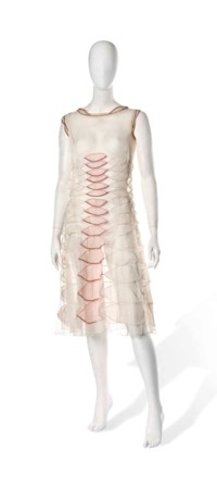 A JEANNE LANVIN COCKTAIL DRESS OF WHITE ORGANZA