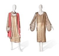A JEANNE LANVIN PINK TABARD AND GOLD LAMÉ DRESS