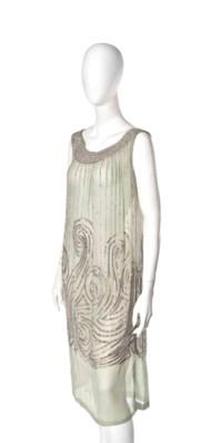 A JEANNE LANVIN EAU DE NIL CHIFFON BEADED COCKTAIL DRESS