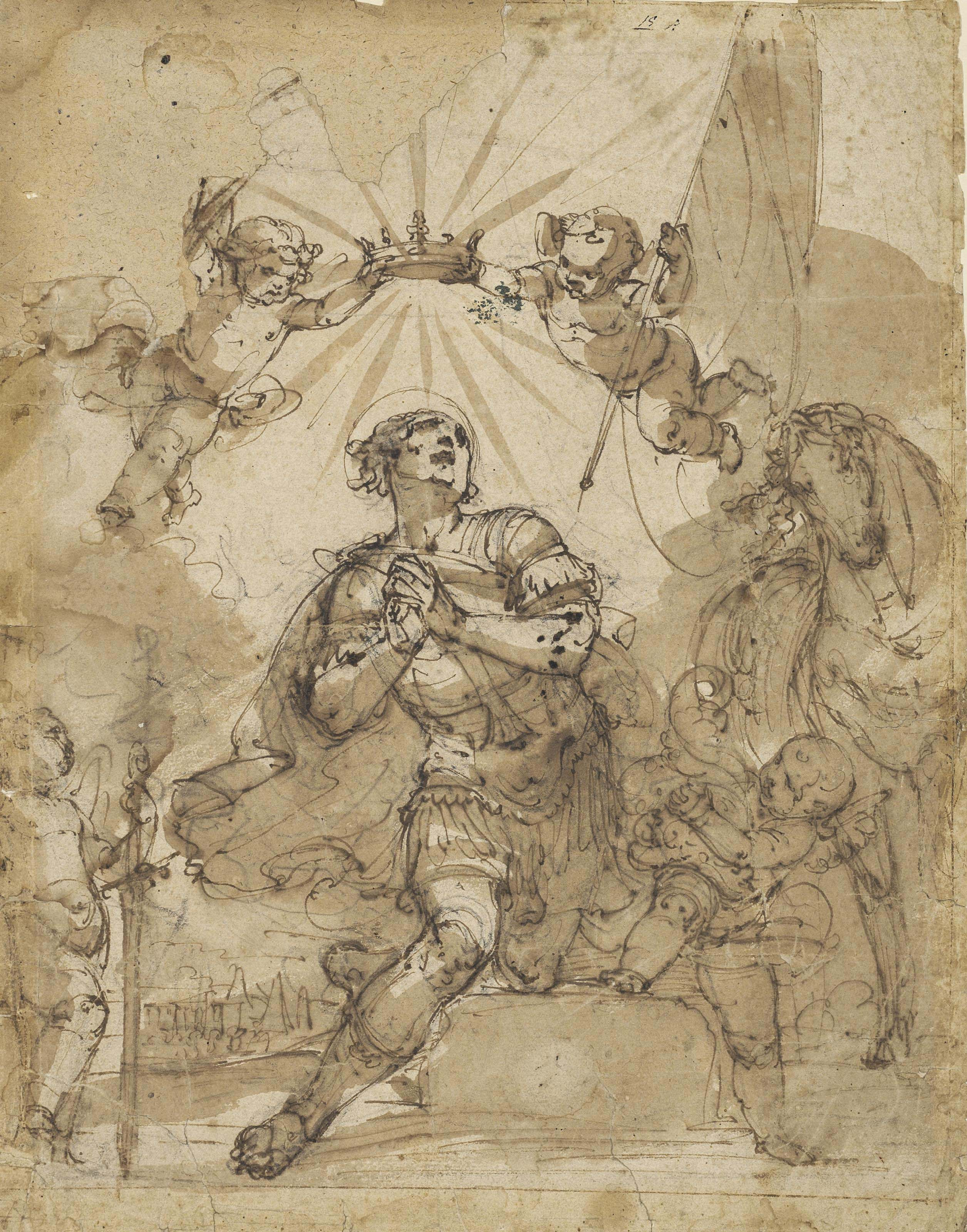 A kneeling warrior saint crowned by putti