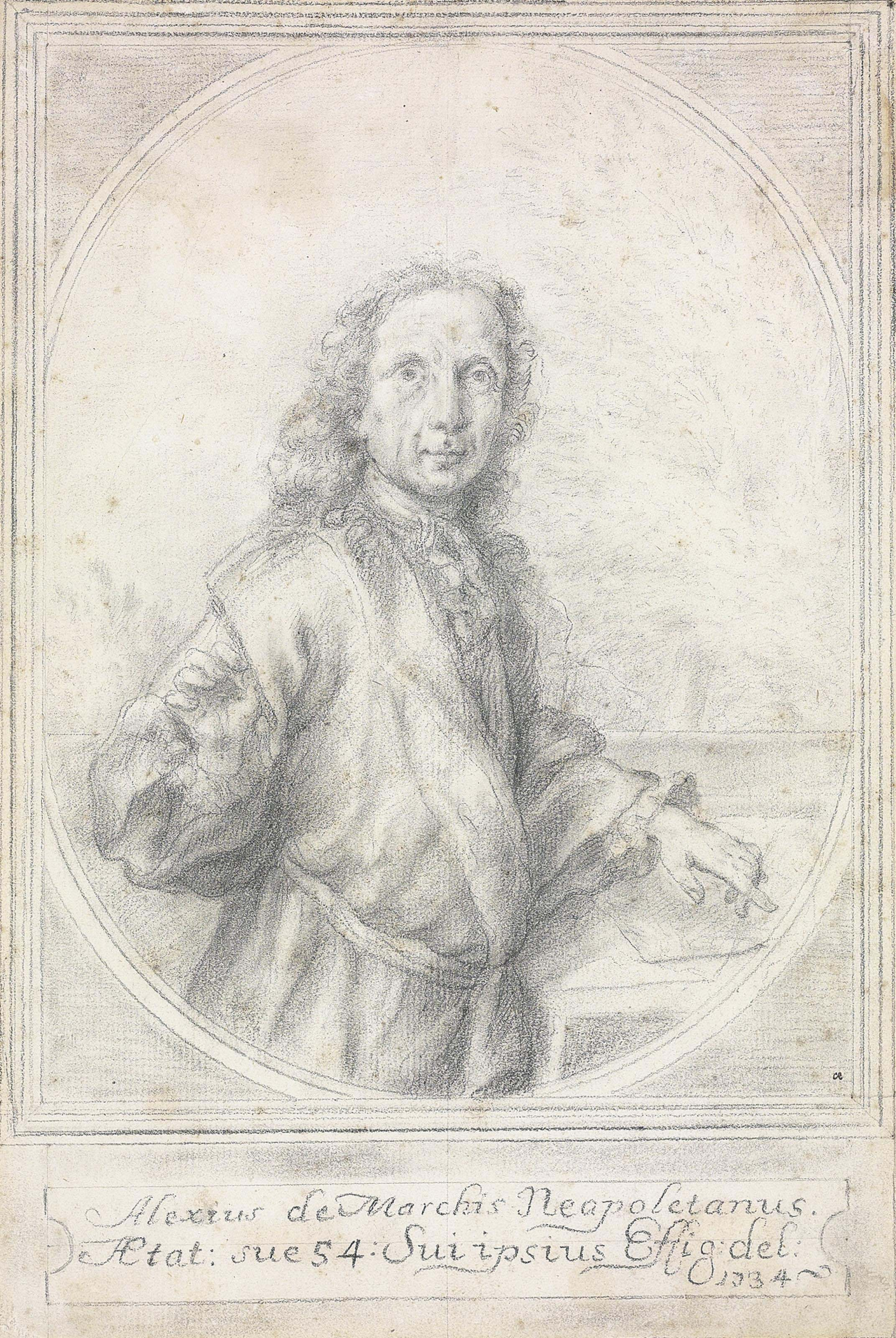 Portrait of the artist, half-length, holding a porte-crayon, in a trompe l'oeil oval frame
