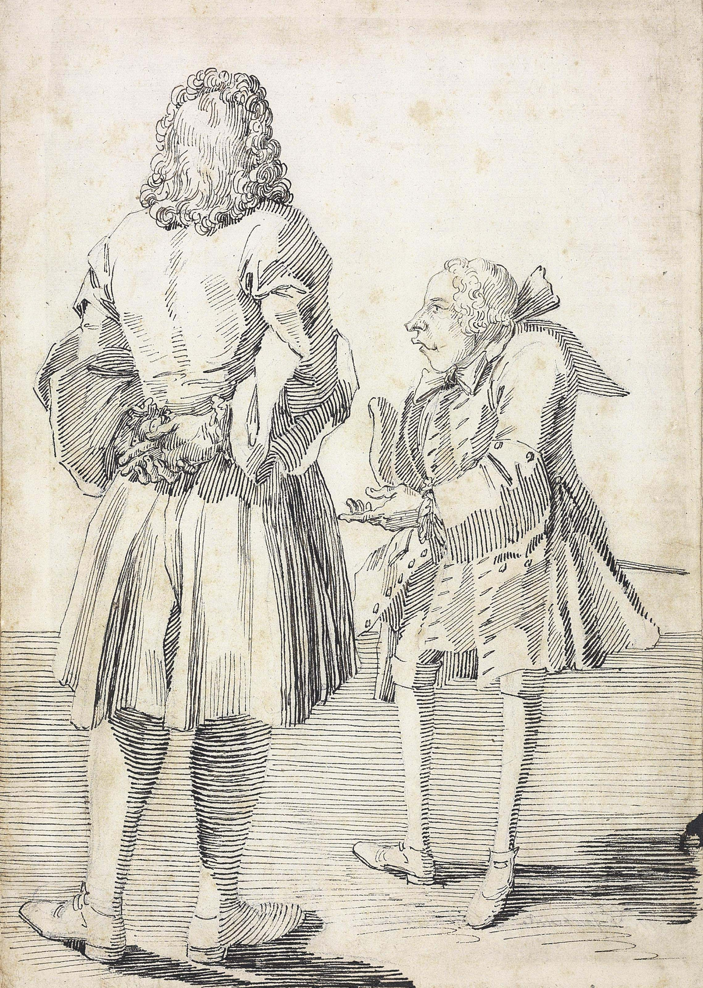 Monsieur de Fontenelle, seen from behind, and Abbé Le Blond