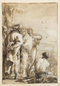 Turks with an augur looking out to sea, perhaps an allegory of the Battle of Lepanto