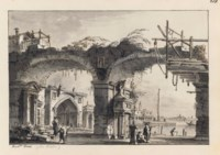 An architectural capriccio with a ruined aqueduct and a church beyond, perhaps that of Sant' Elena
