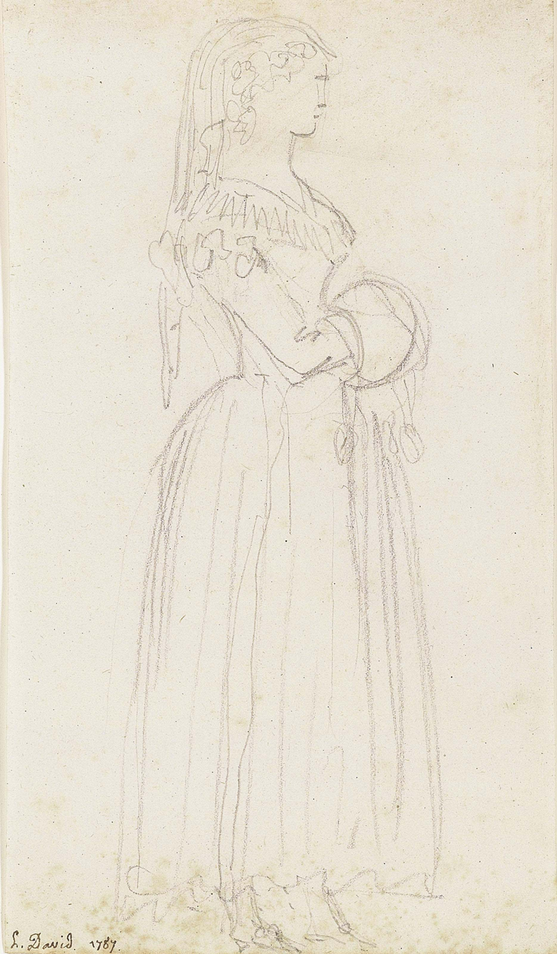 Study of a young woman, full length, seen in profile, wearing a veil and carrying a muff; and Another study of the same figure