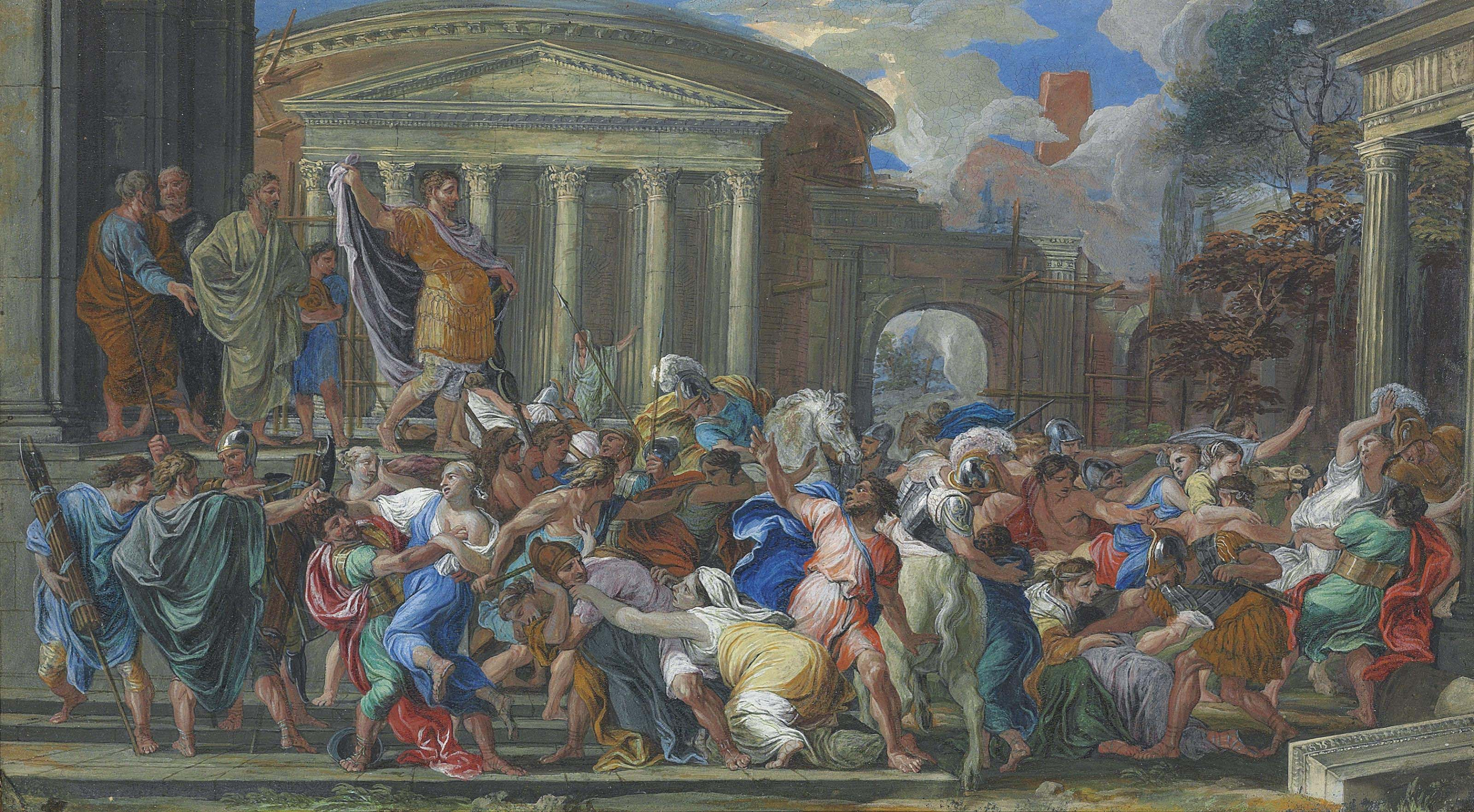 The Rape of the Sabines; and A classical hero ordering a sacrifice to Jupiter on the steps of the Temple of Minerva