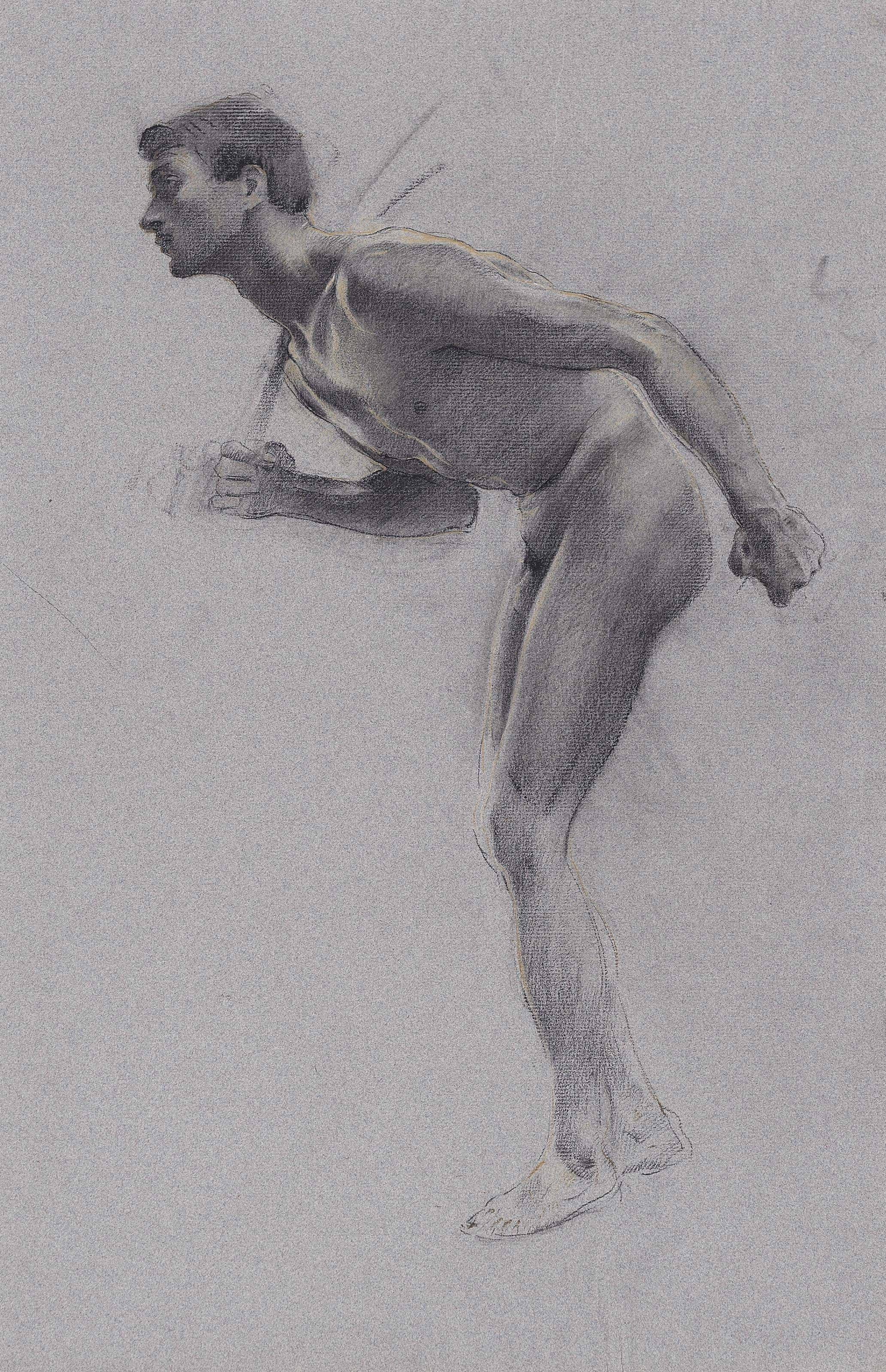 A male nude, bending forward, resting a rod on his shoulder (recto); The same figure, studied again (verso); and A male nude shouting (recto); A male nude leaning to the side (verso)