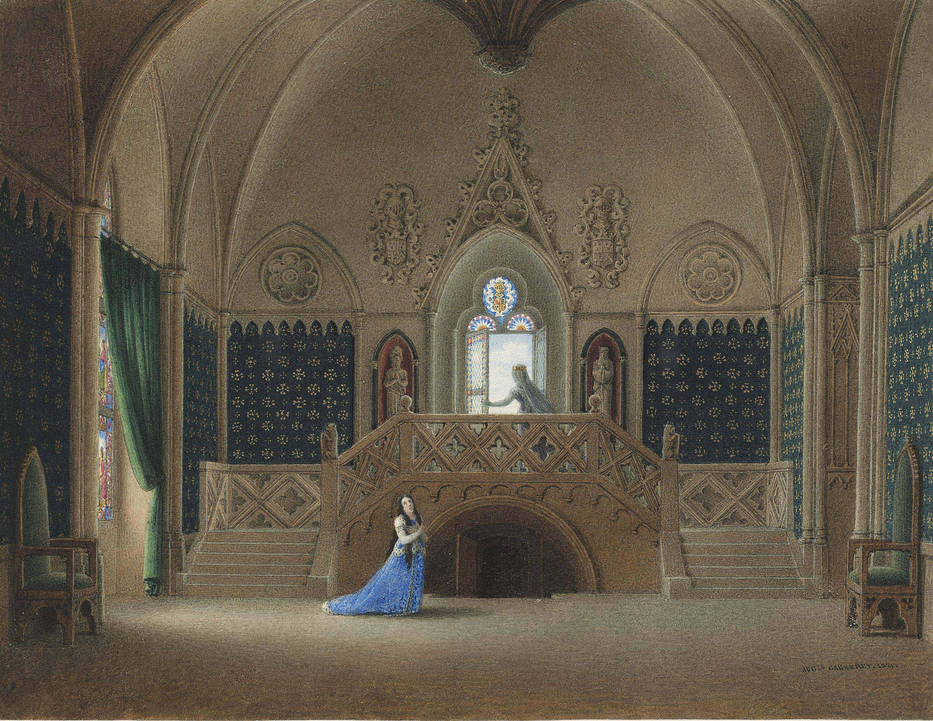 Two women in medieval costume in a Gothic interior