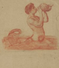 A triton blowing on a conch shell