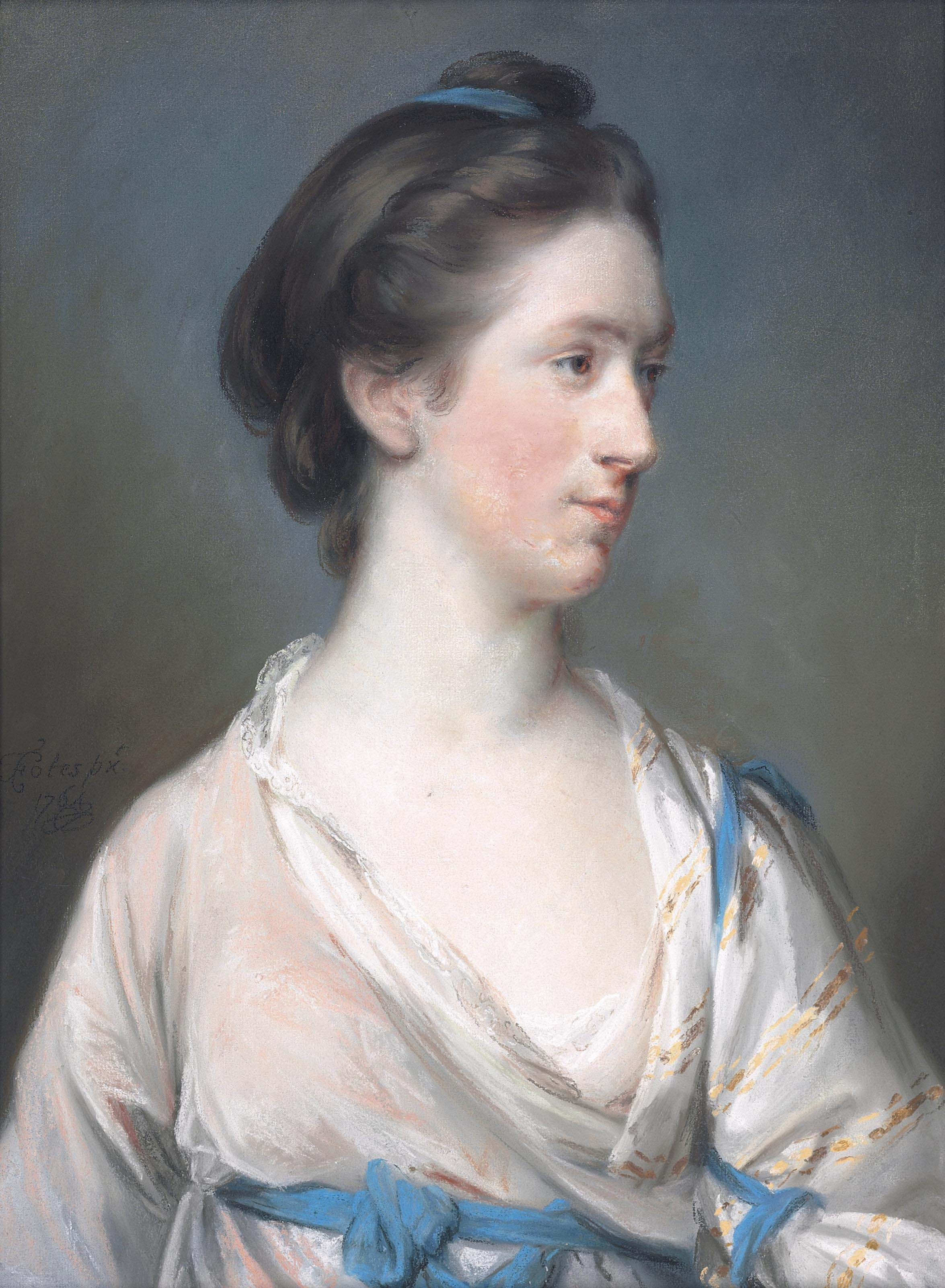 Portrait of Dorothea Tucker (b. 1741), in a pale pink dress and blue shawl