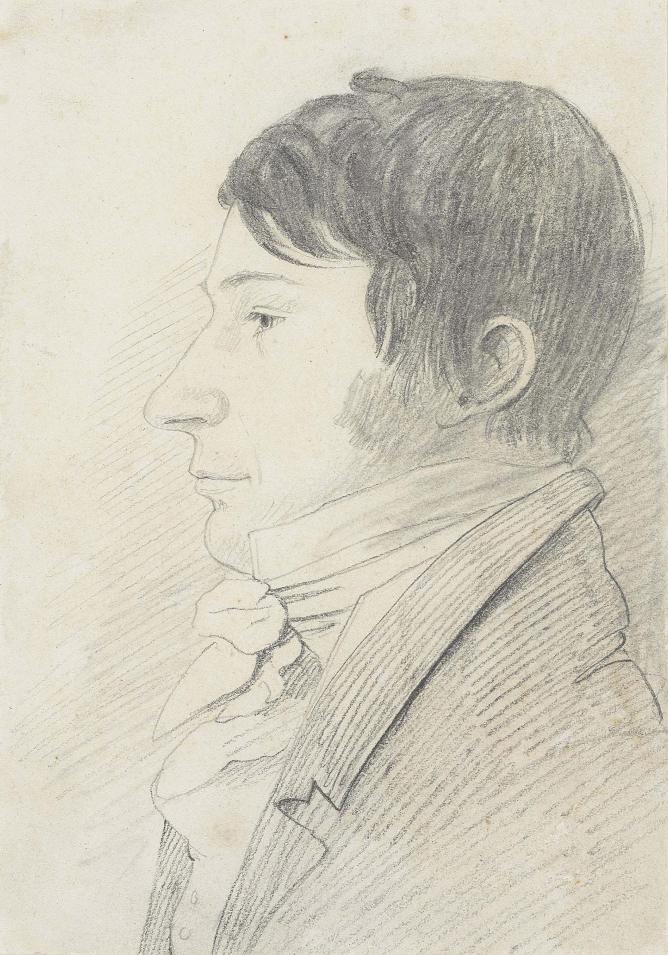 Fifty-four portrait drawings including: John Girtin (b. 1773); Probably Thomas Webster (1800-1886) (illustrated); Delvalle Lowry (1762-1825); Mrs Havell; Mr Hewlett (1768-1826); Mr Wilson Lowry; Mr Blane; Henry Ziegler (1798-1874); Mr Mason; Mr Webster; Mr Sheffield; Colonel Landman; John Fleetwood and others