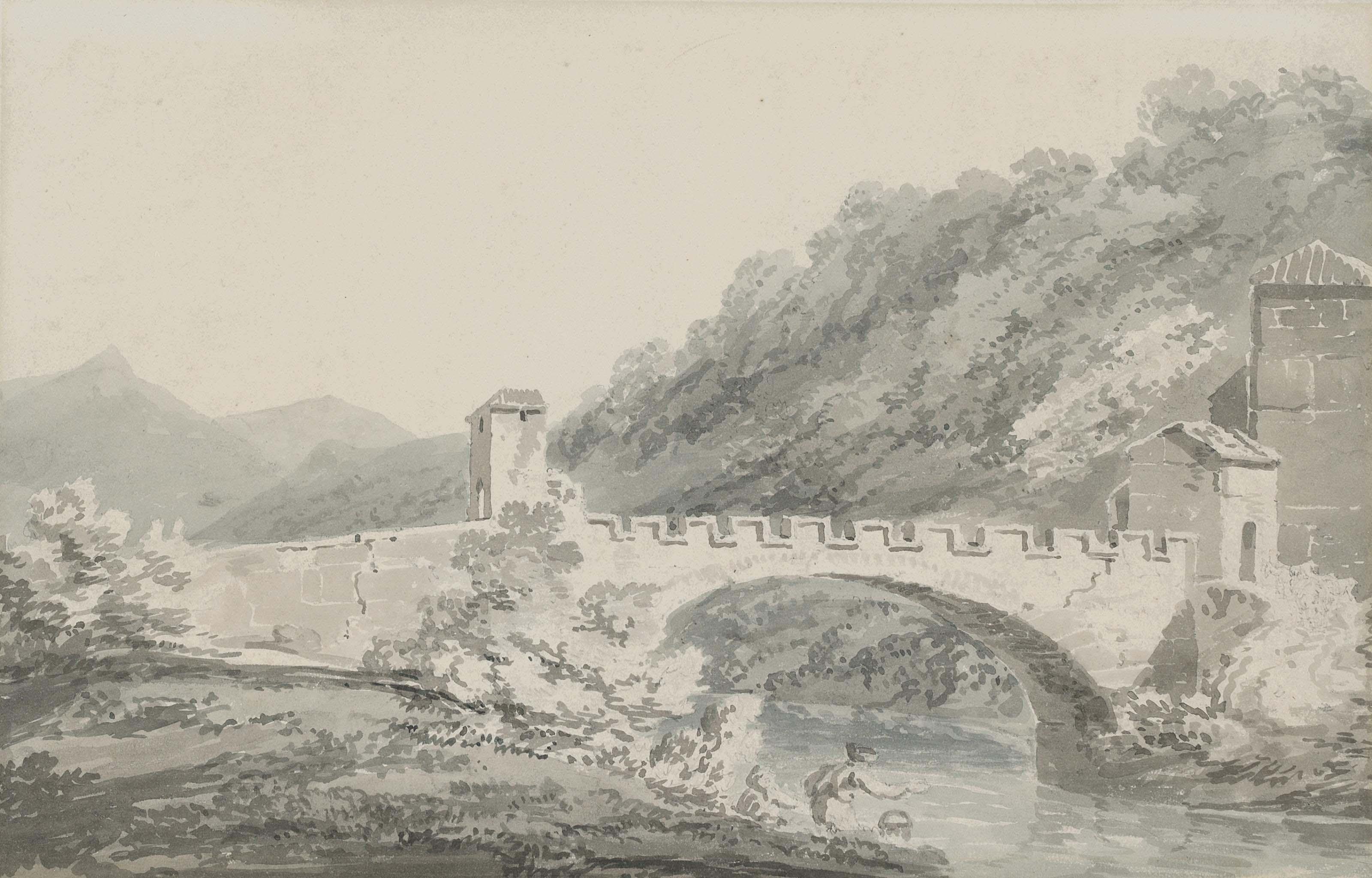 Figures before a bridge