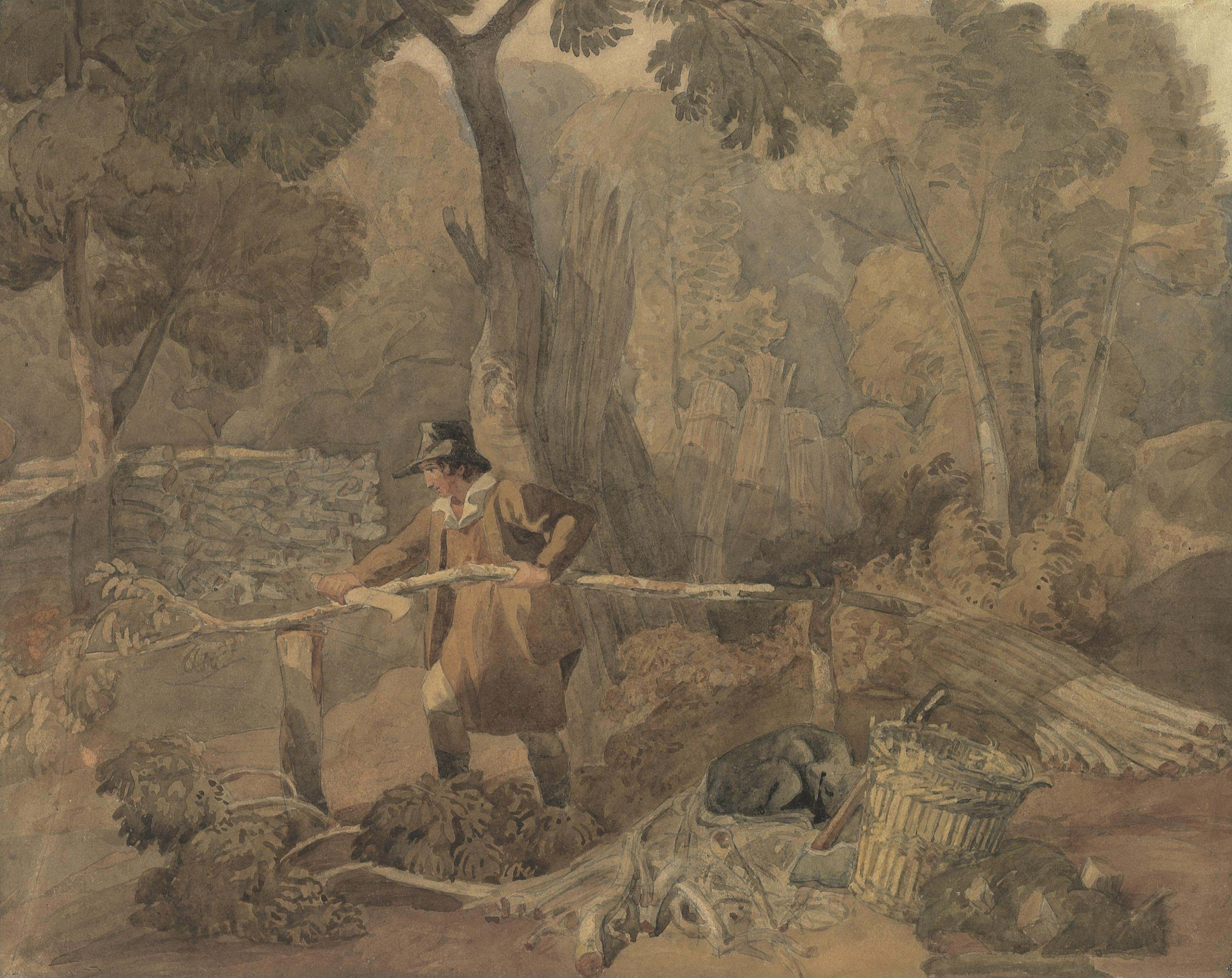A woodcutter near Sevenoaks, Kent (recto); and Study of a boy fishing (verso)