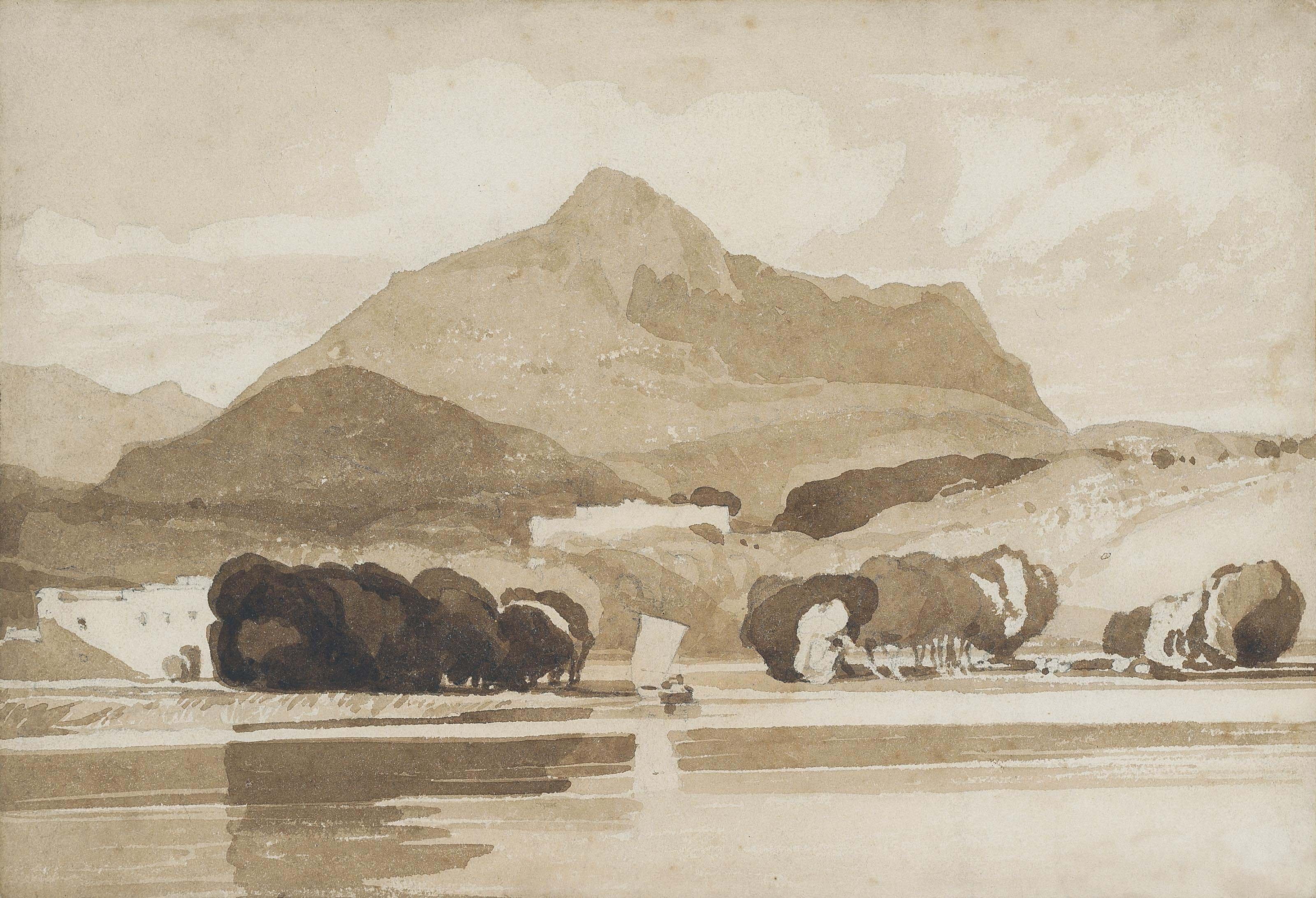 A boat on a lake in a mountainous landscape