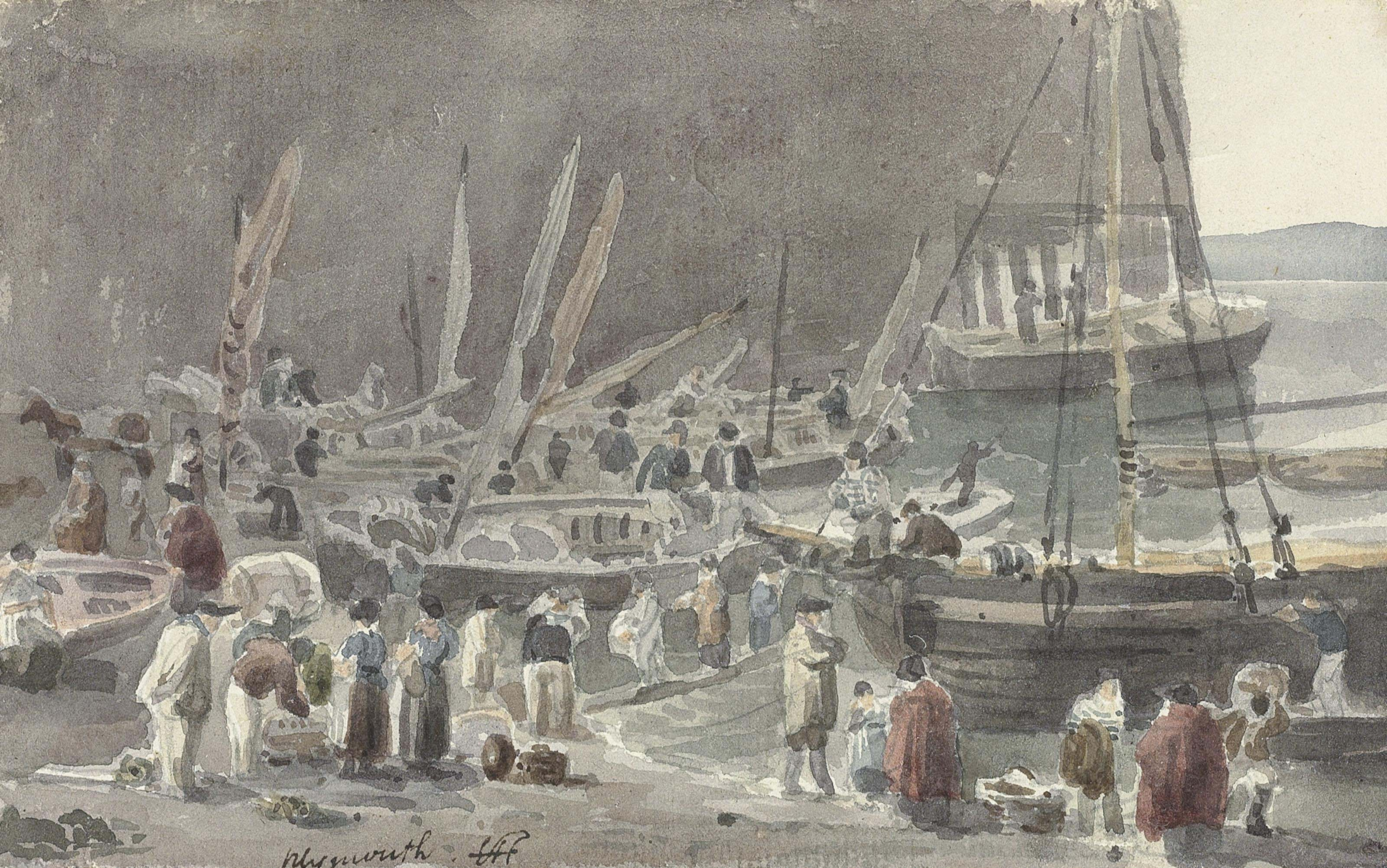 Fisherfolk among boats at Plymouth, Devon