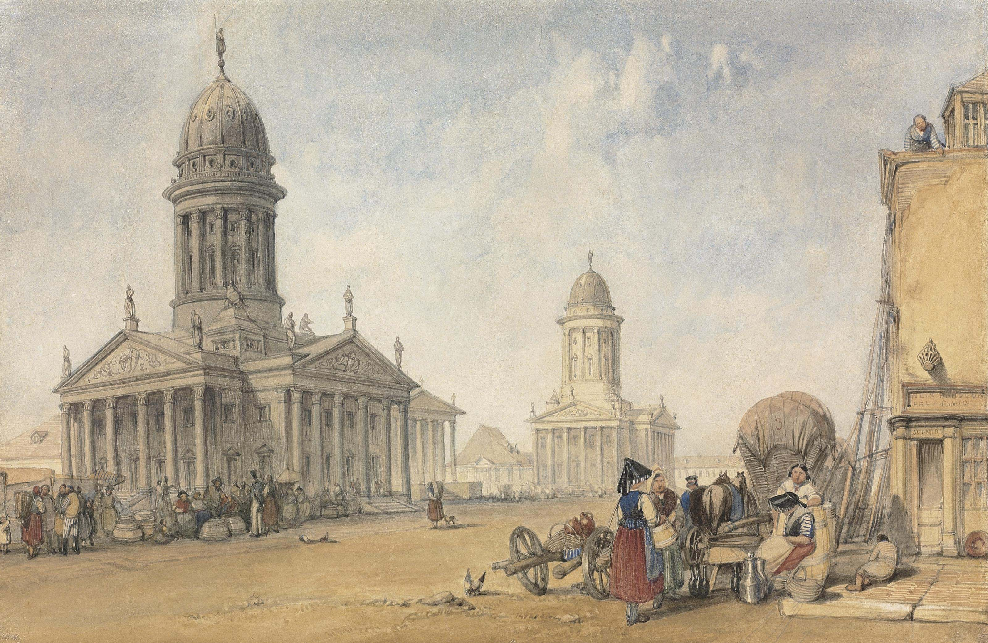 The Gendarmenmarkt, Berlin showing the French and German Cathedrals