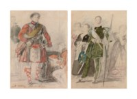 Portrait study of King George IV in highland dress at Holyrood Palace; and An archer and a group of women at Holyrood Palace