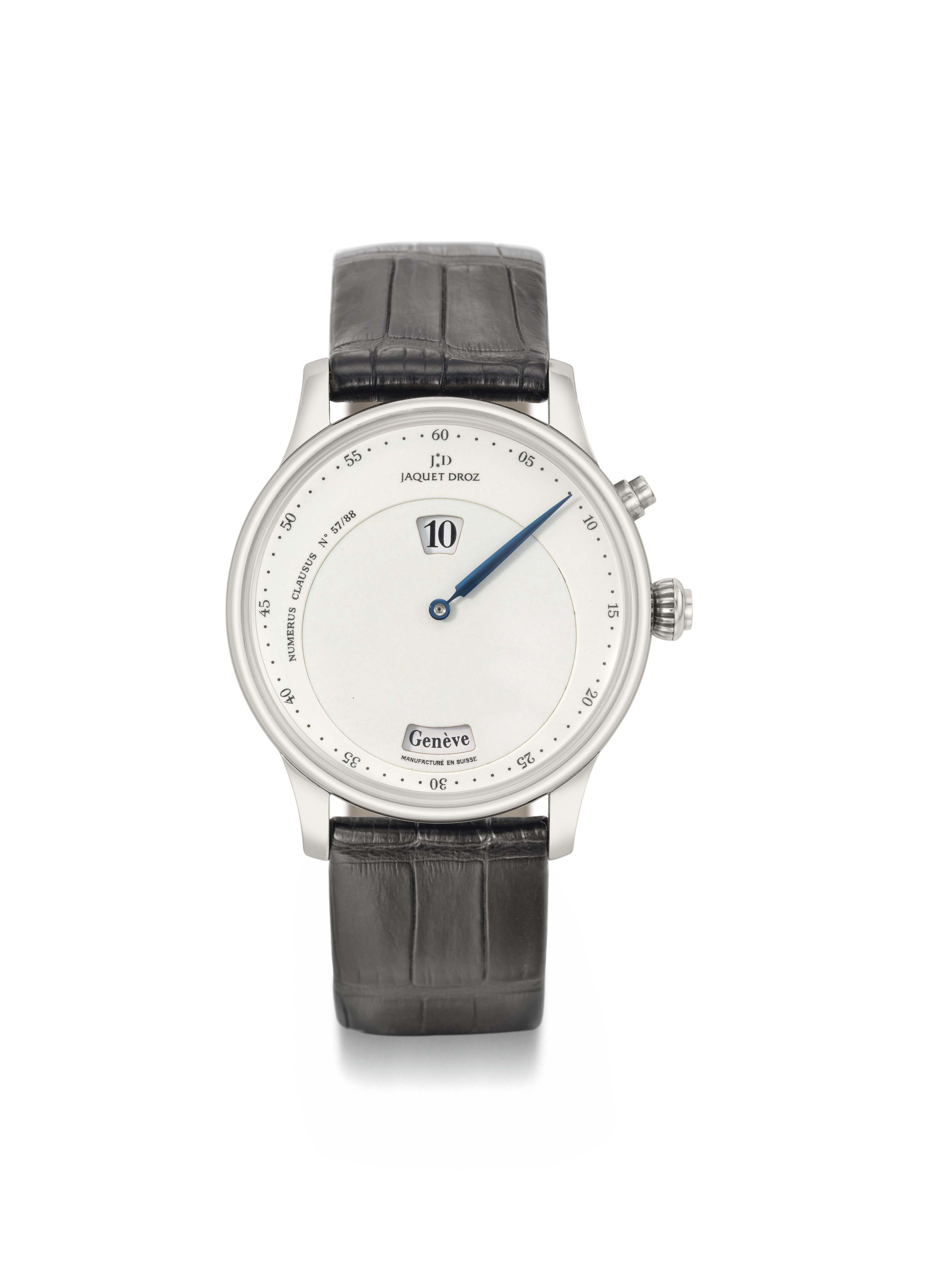 JAQUET DROZ. AN OVERSIZED 18K WHITE GOLD LIMITED EDITION AUTOMATIC JUMP HOUR WORLD TIME WRISTWATCH WITH ENAMEL REGULATOR DIAL
