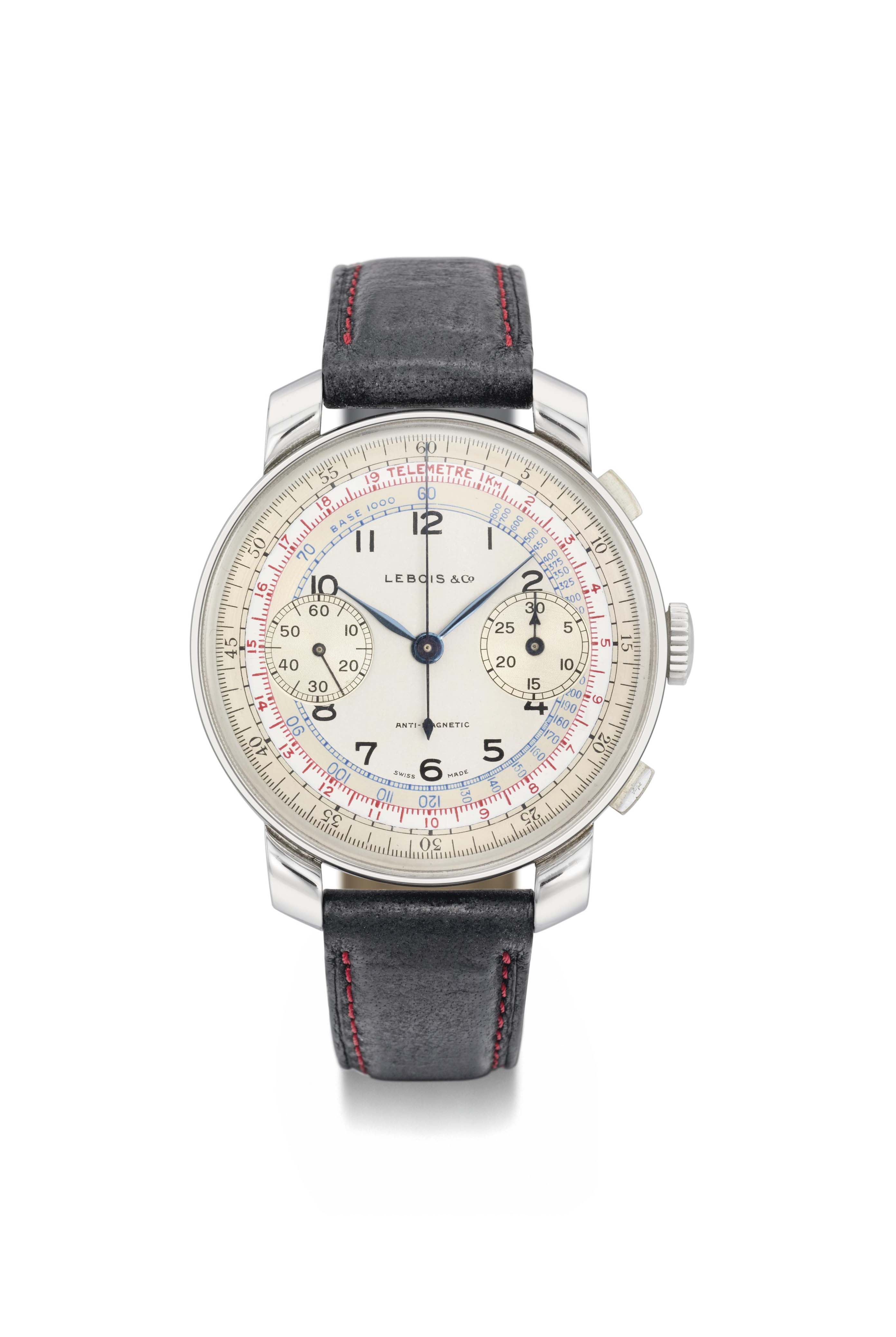 Lebois & Co. A large stainless steel chronograph wristwatch with two-tone silvered dial