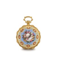 Le Roy. A fine, rare and attractive 18K gold and enamel hunter case cylinder watch with chain, made for the Turkish market