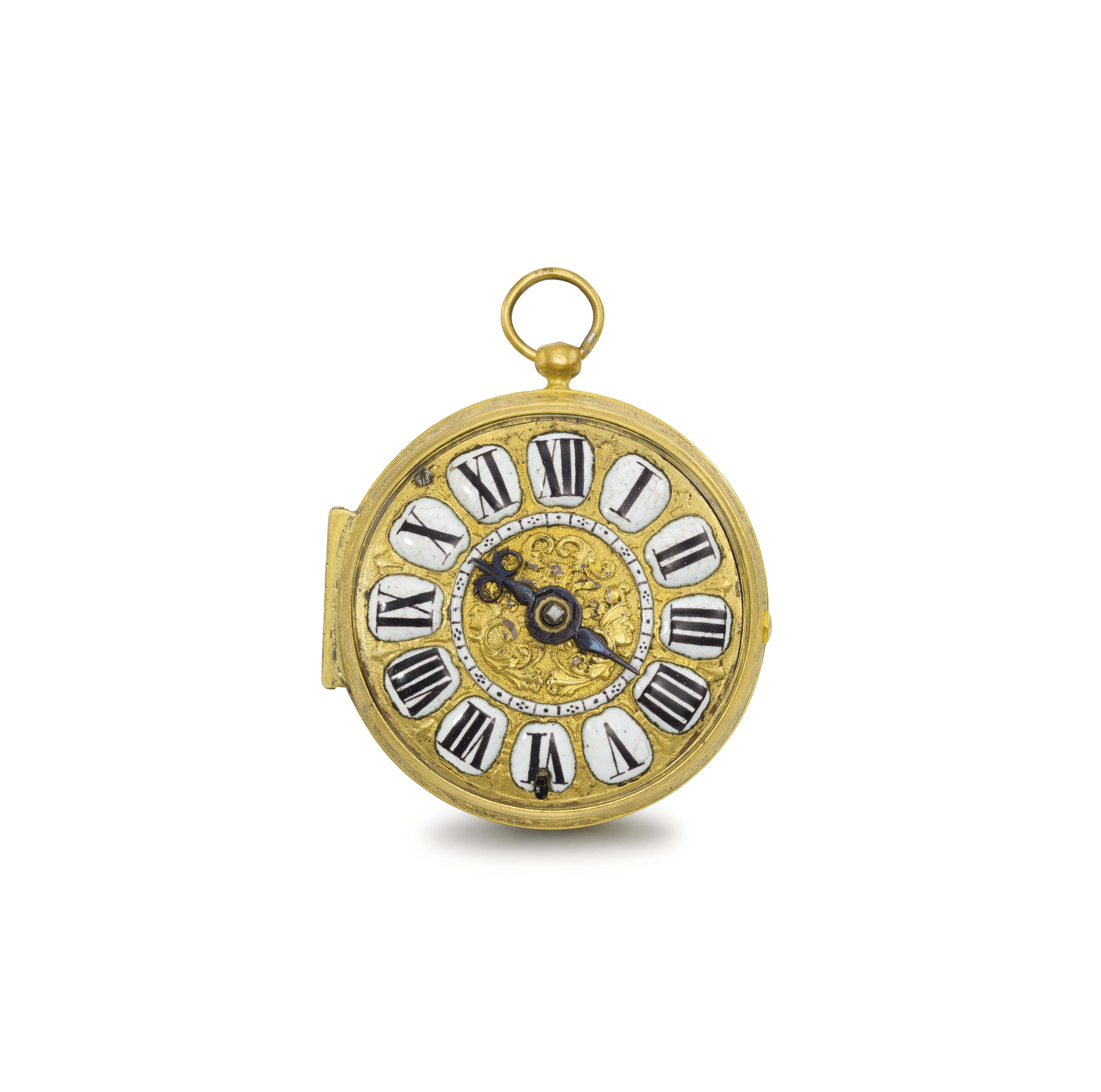 Jerome Martinot. A fine and rare early gilt and enamel oignon verge watch