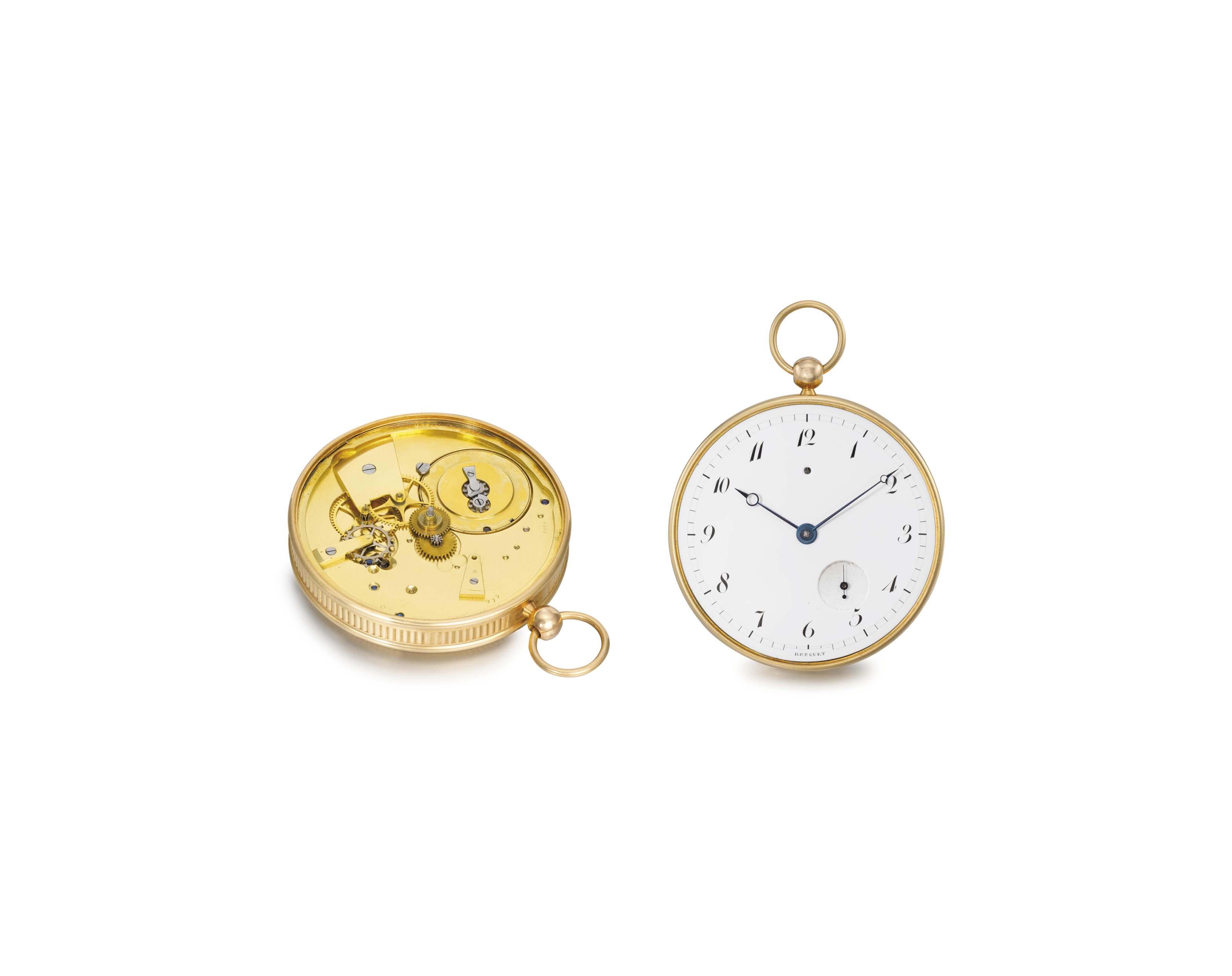 """Breguet, Paris, No. 979 """"Montre simple, nouveau calibre"""". A fine and rare 18K gold openface watch with unusual calibre"""
