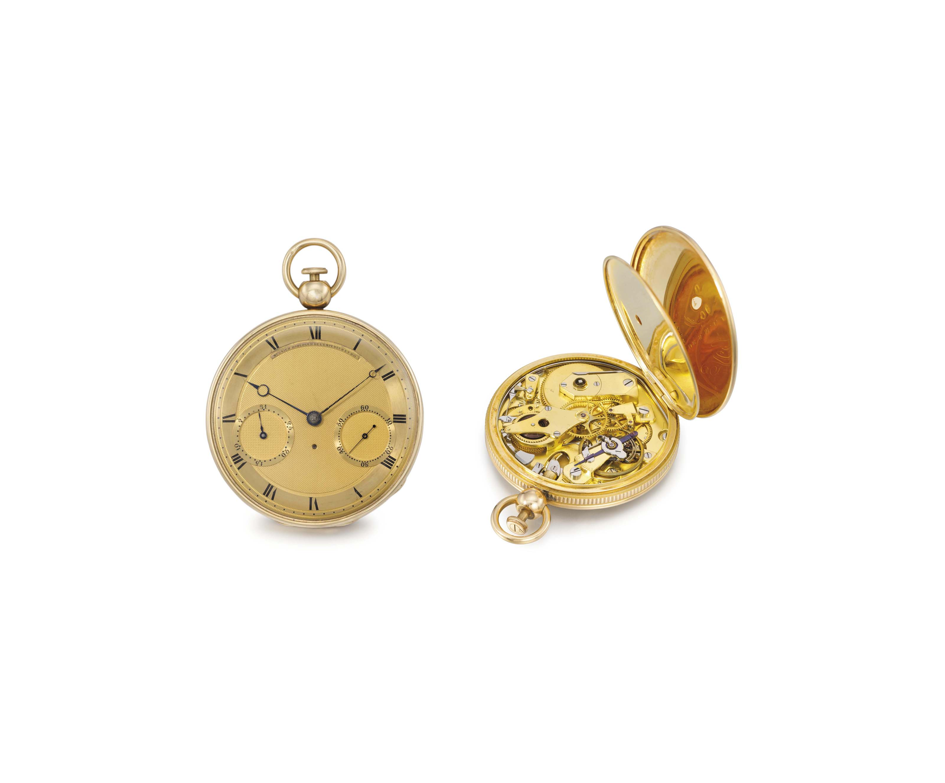 Mugnier. A fine 18K gold openface à toc quarter repeating jump hour watch with date of the month
