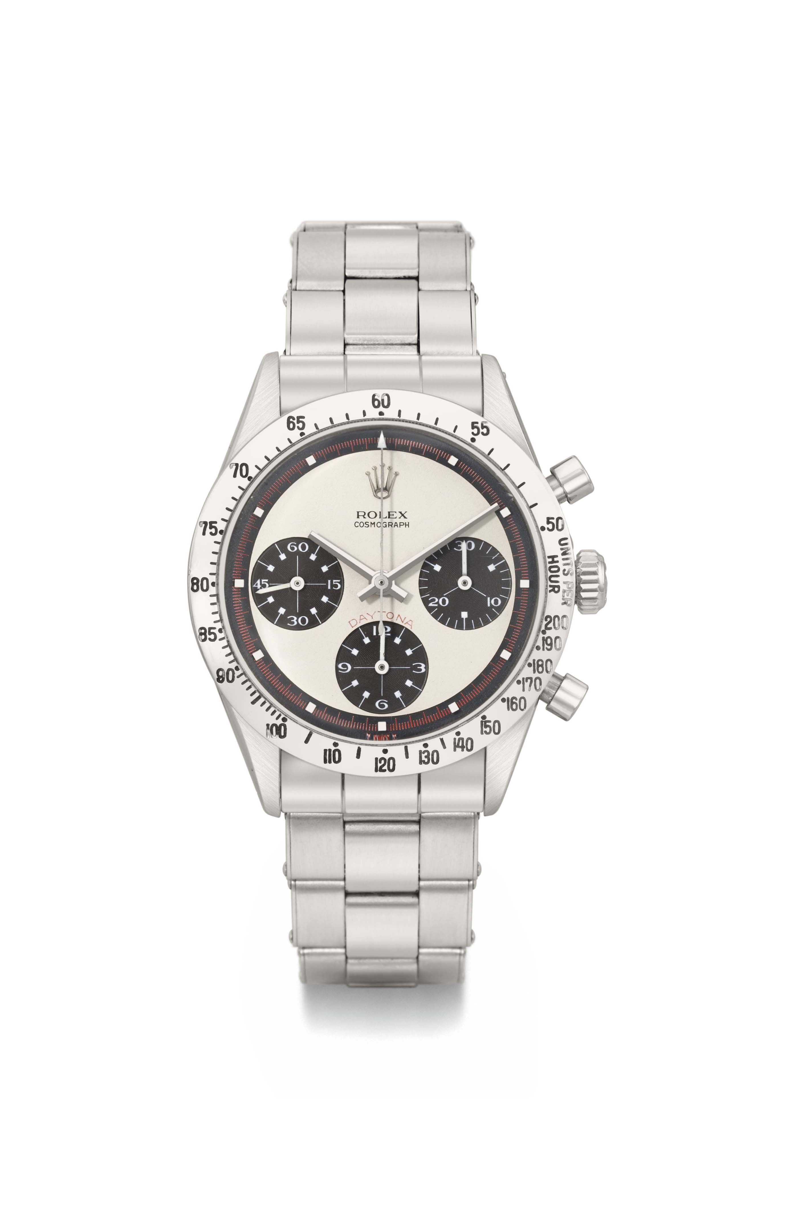 Rolex. A very rare and unusual stainless steel chronograph wristwatch with non-luminous dial and hands, ebony-coloured subsidiary dials, bracelet and original box