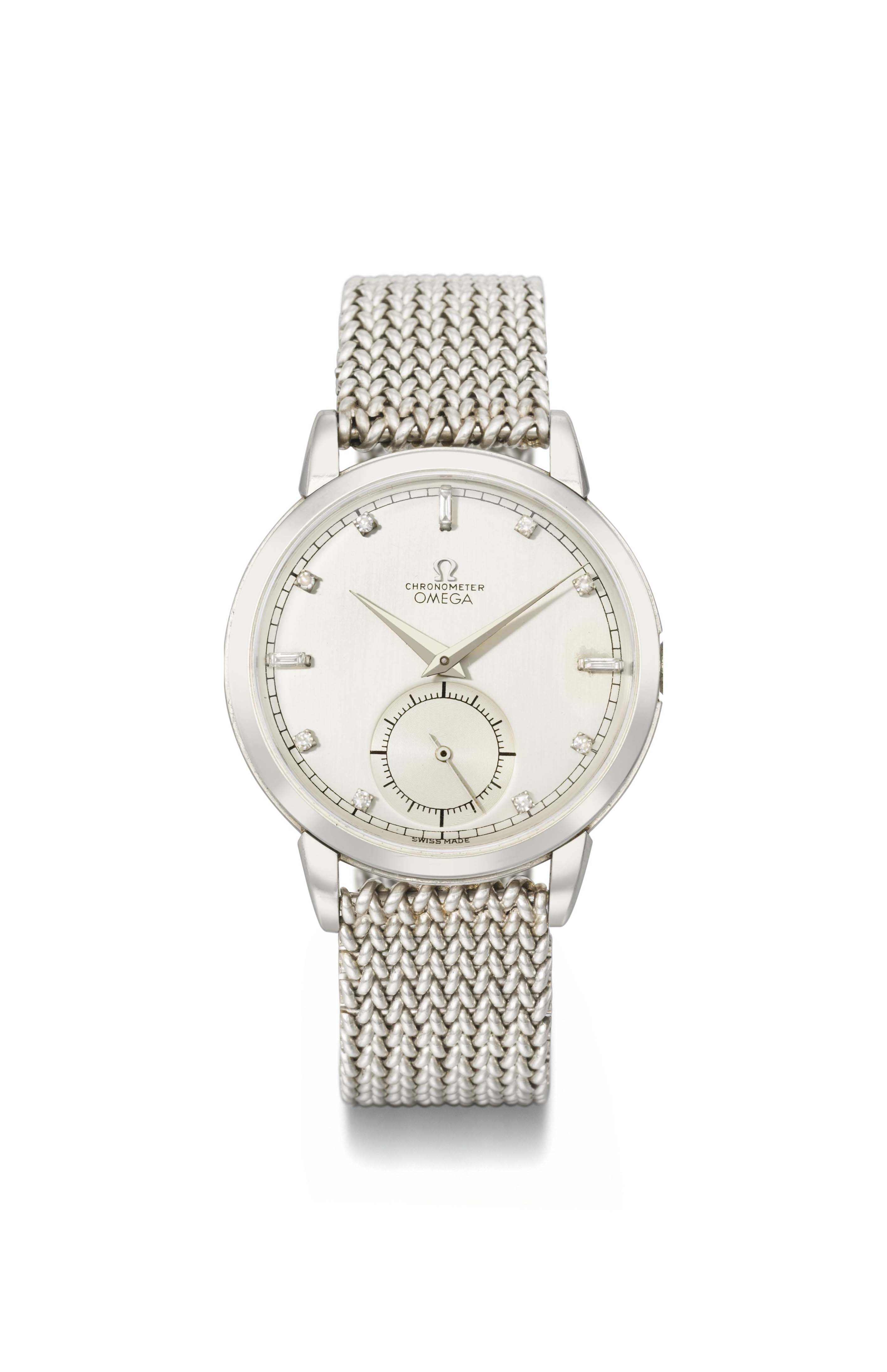 Omega. A very rare, large and attractive platinum and diamond-set chronometer wristwatch with bracelet
