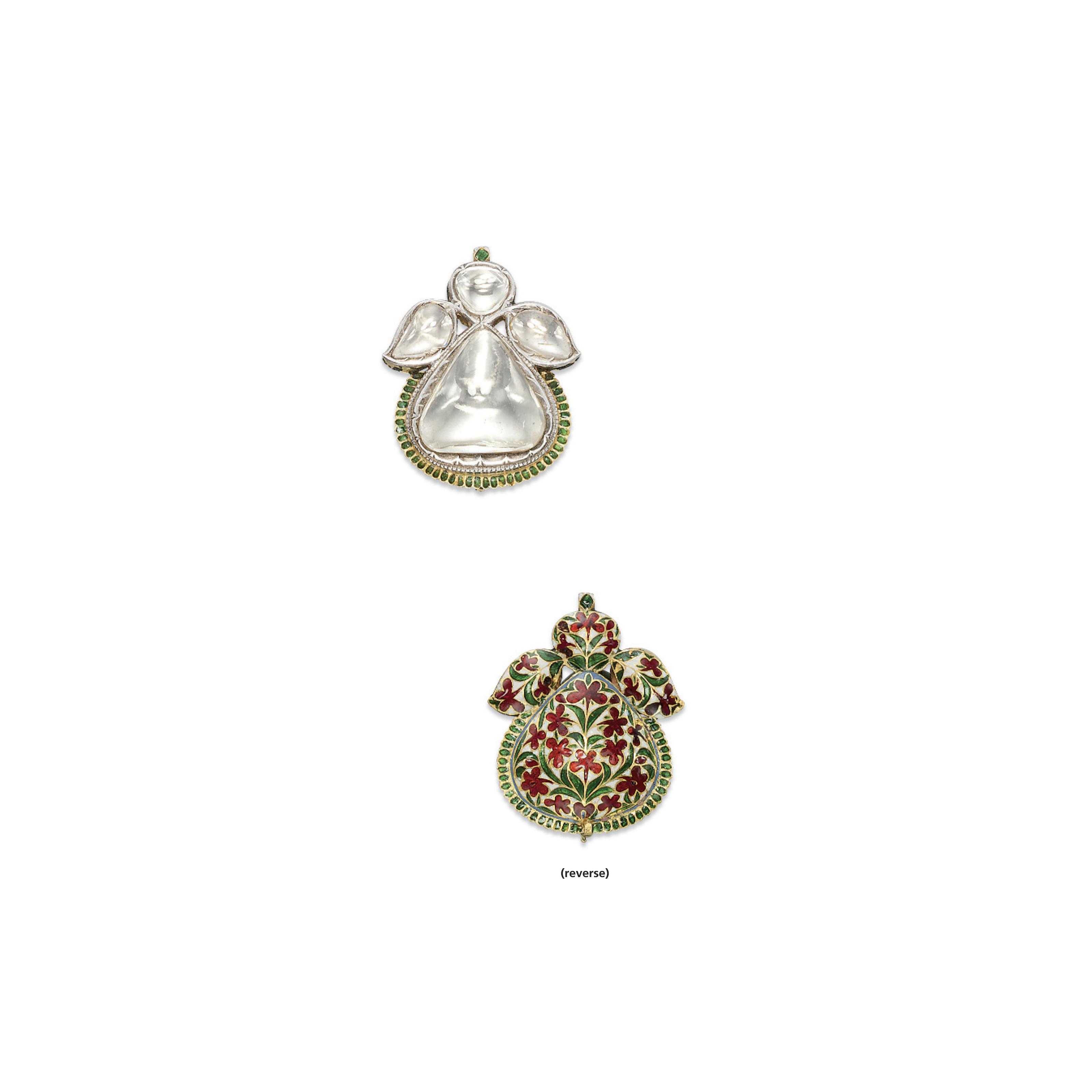 AN ANTIQUE INDIAN DIAMOND AND ENAMEL PENDANT