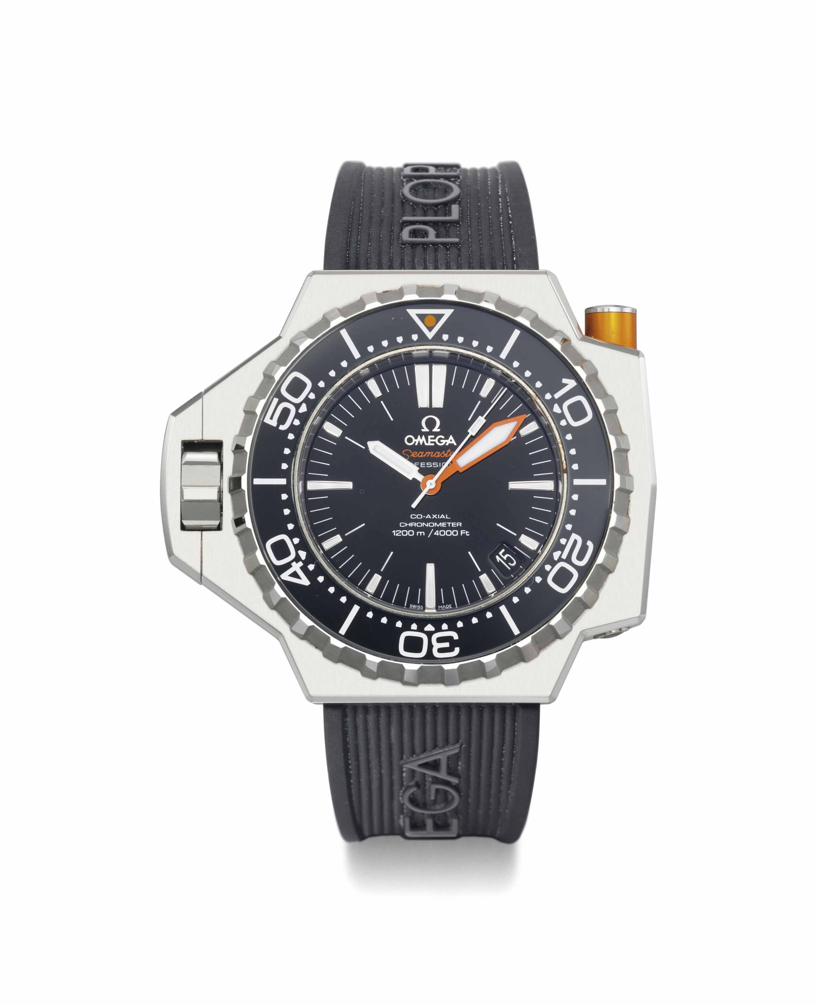 Omega. A large stainless steel automatic diver's wristwatch with sweep centre seconds and date