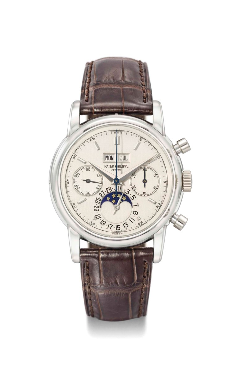An exceptionally rare, very attractive and highly important platinum perpetual calendar chronograph Patek Philippe wristwatch with moon phases, 1987. 37.5  mm  diameter. Sold for CHF 3,443,000 on 12 November 2012 at Christie's in Geneva
