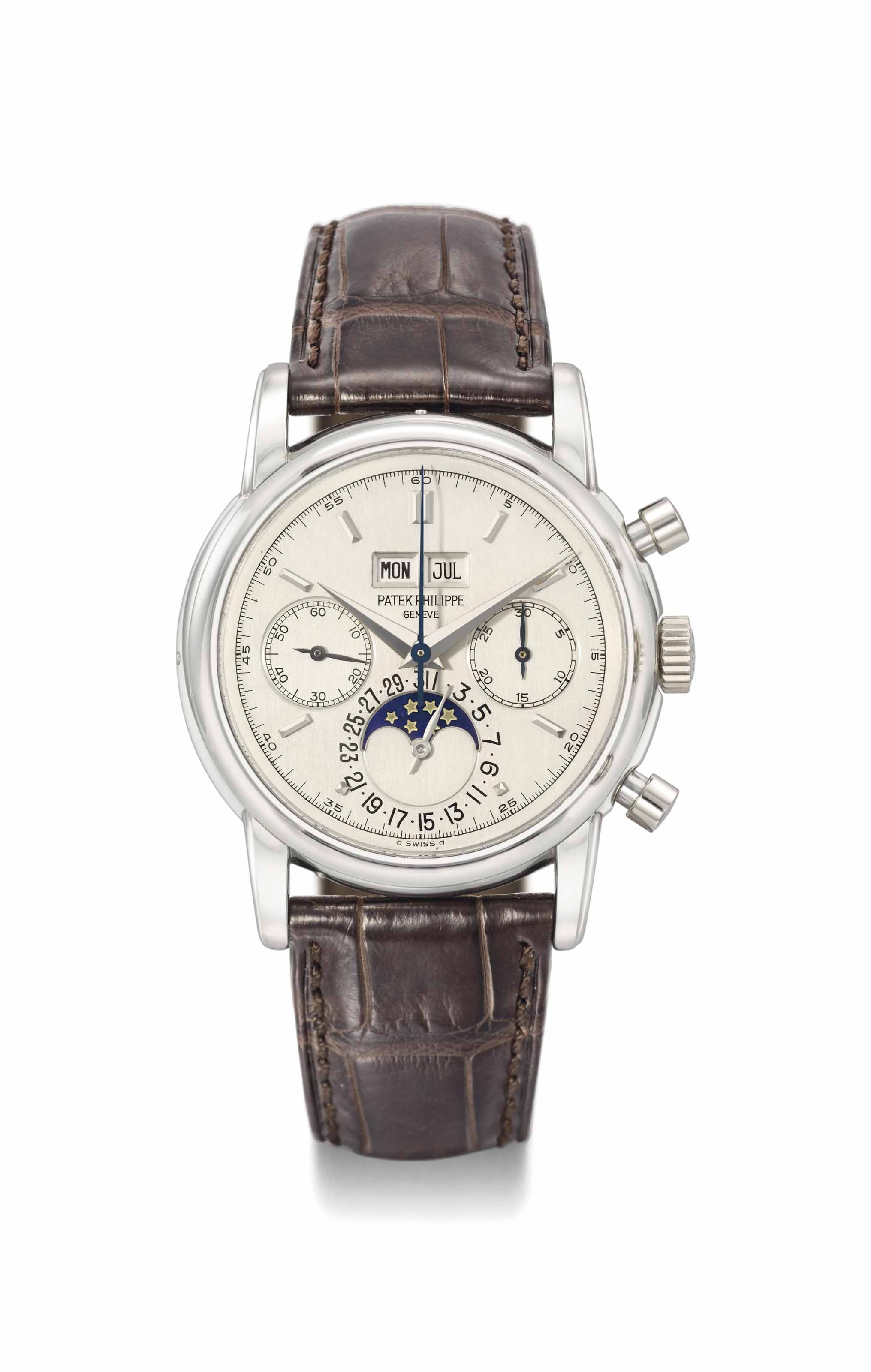 Patek Philippe. An exceptionally rare, very attractive and highly important platinum perpetual calendar chronograph wristwatch with moon phases