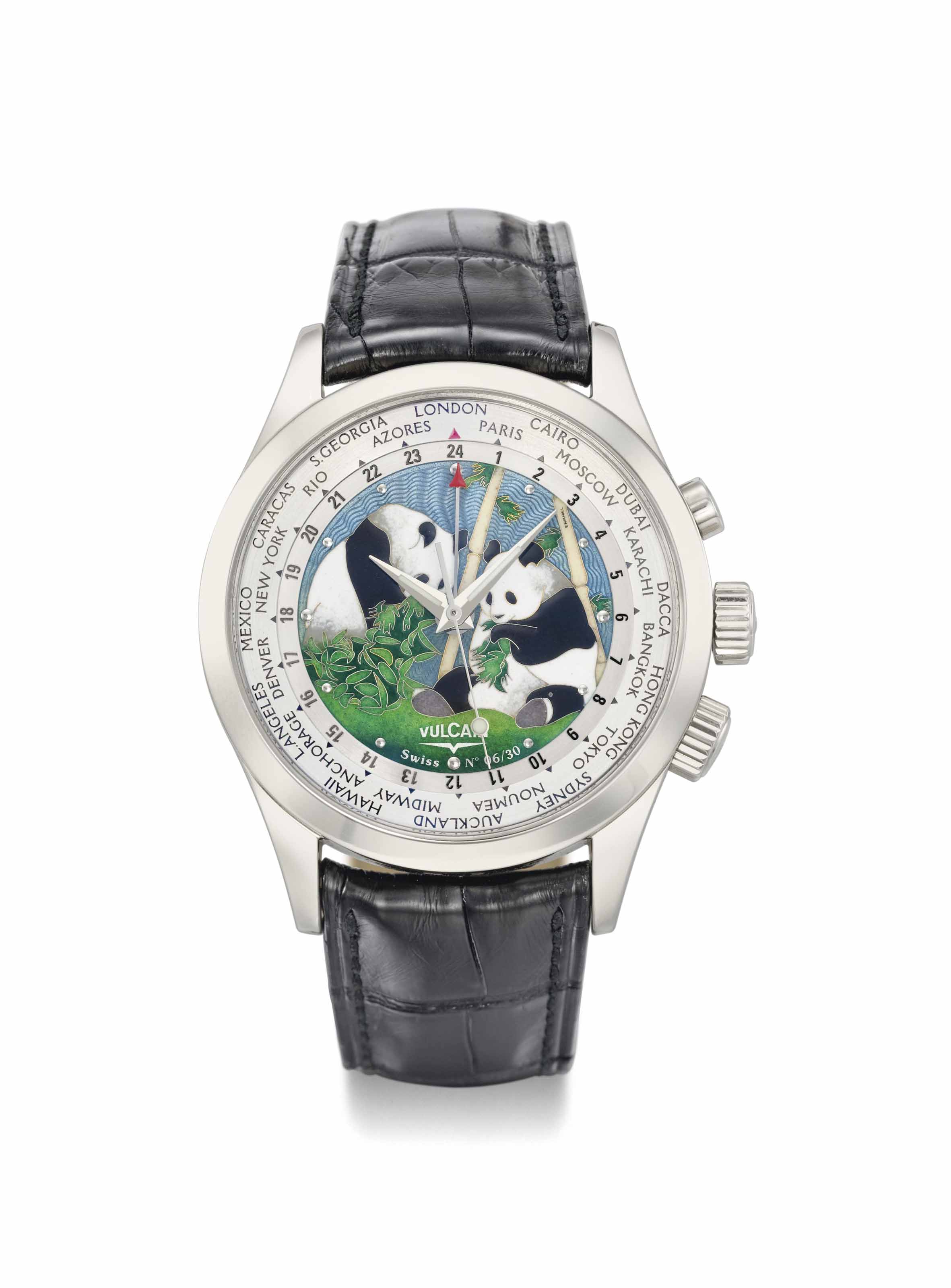 Vulcain. A fine 18K white gold limited edition world time wristwatch with sweep centre seconds, alarm and cloisonné enamel dial