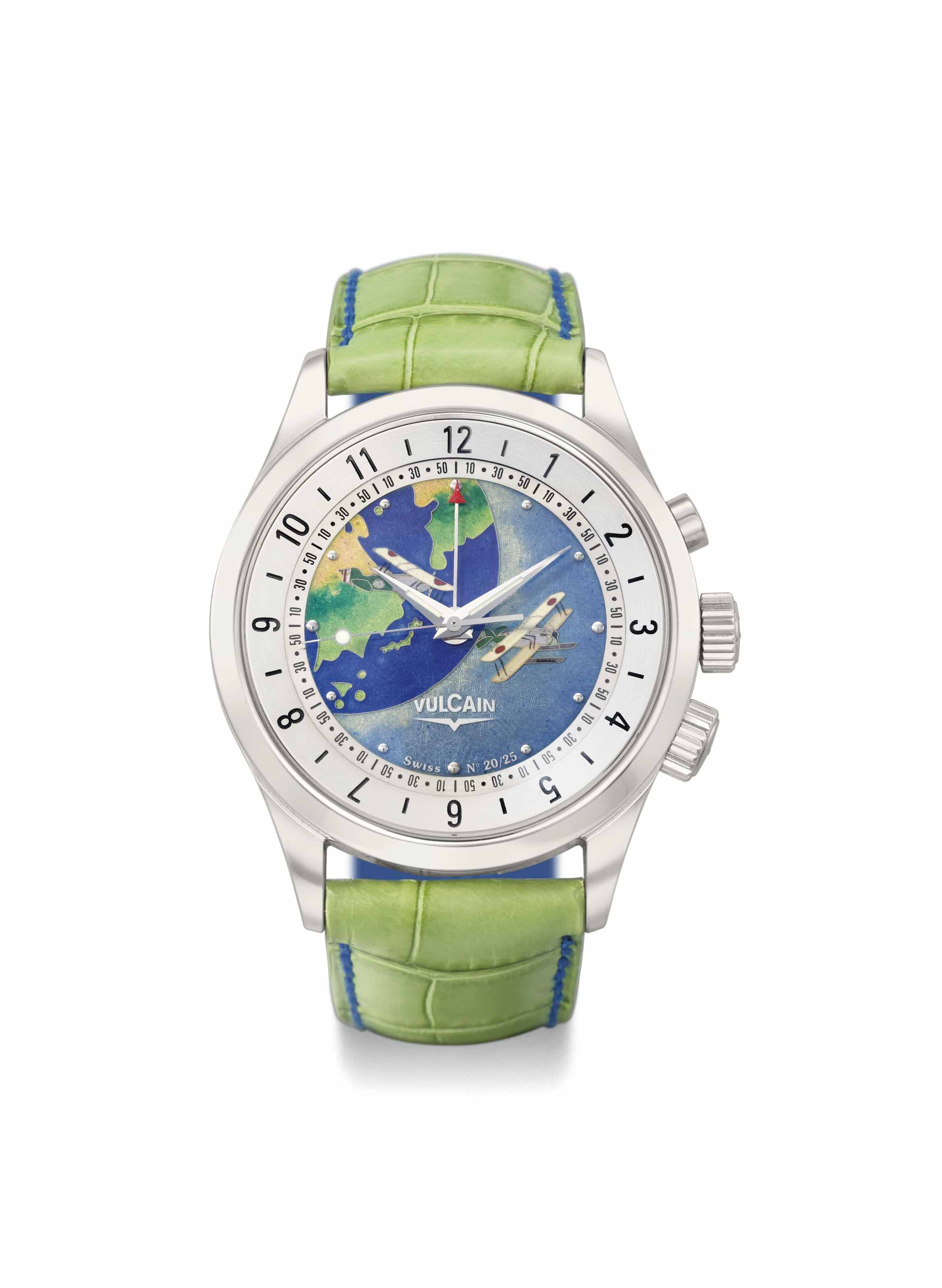 Vulcain. A fine 18K white gold limited edition dual time wristwatch with sweep centre seconds, alarm and cloisonné enamel dial