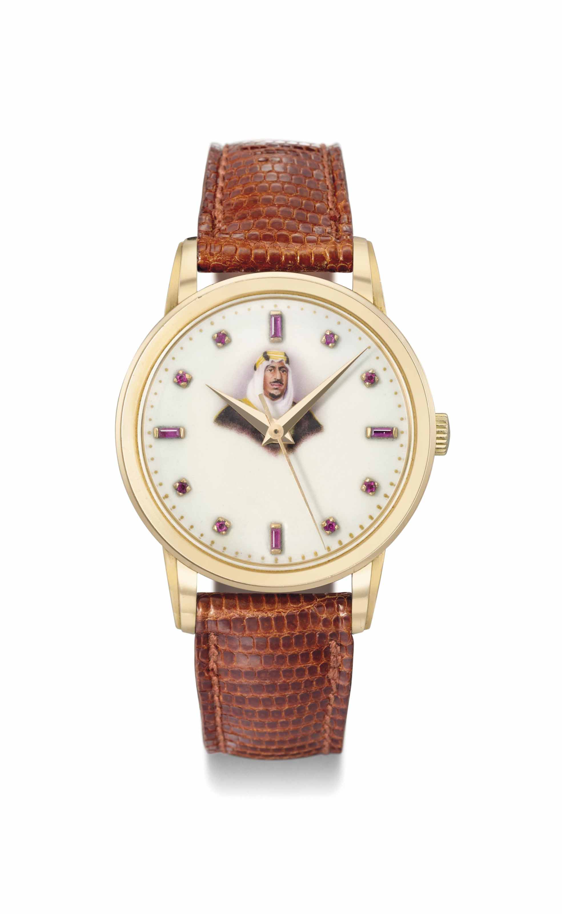 Patek Philippe. An extremely fine, large and rare 18K pink gold wristwatch with sweep centre seconds and ruby-set enamel dial with the portrait of King Saud bin Abdul Aziz
