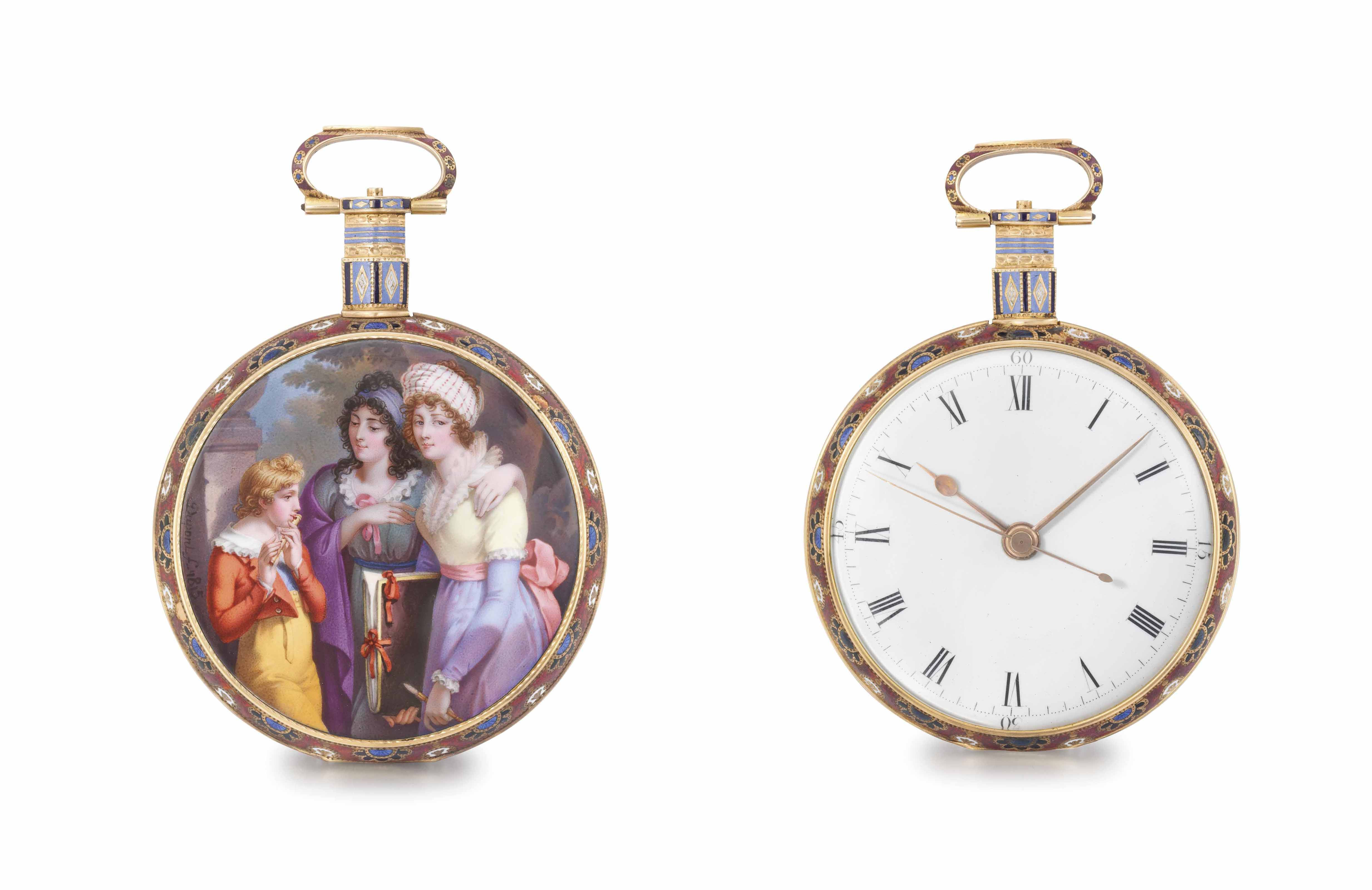 William Ilbery. An exceptional 18K gold and enamel openface centre seconds duplex watch with enamel by Jean-François-Victor Dupont, made for the Chinese market