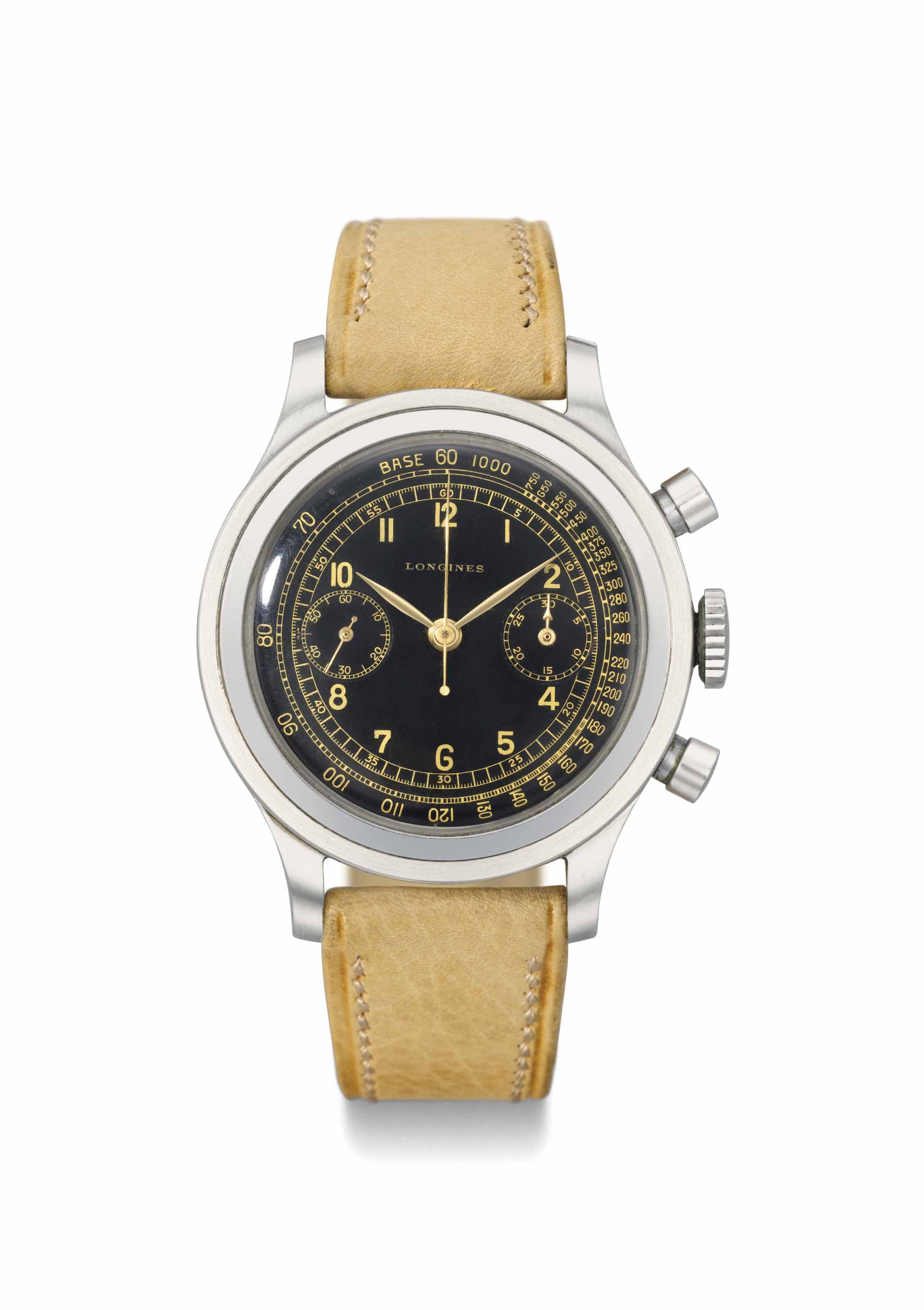 Longines. An attractive and large stainless steel flyback chronograph wristwatch with black dial