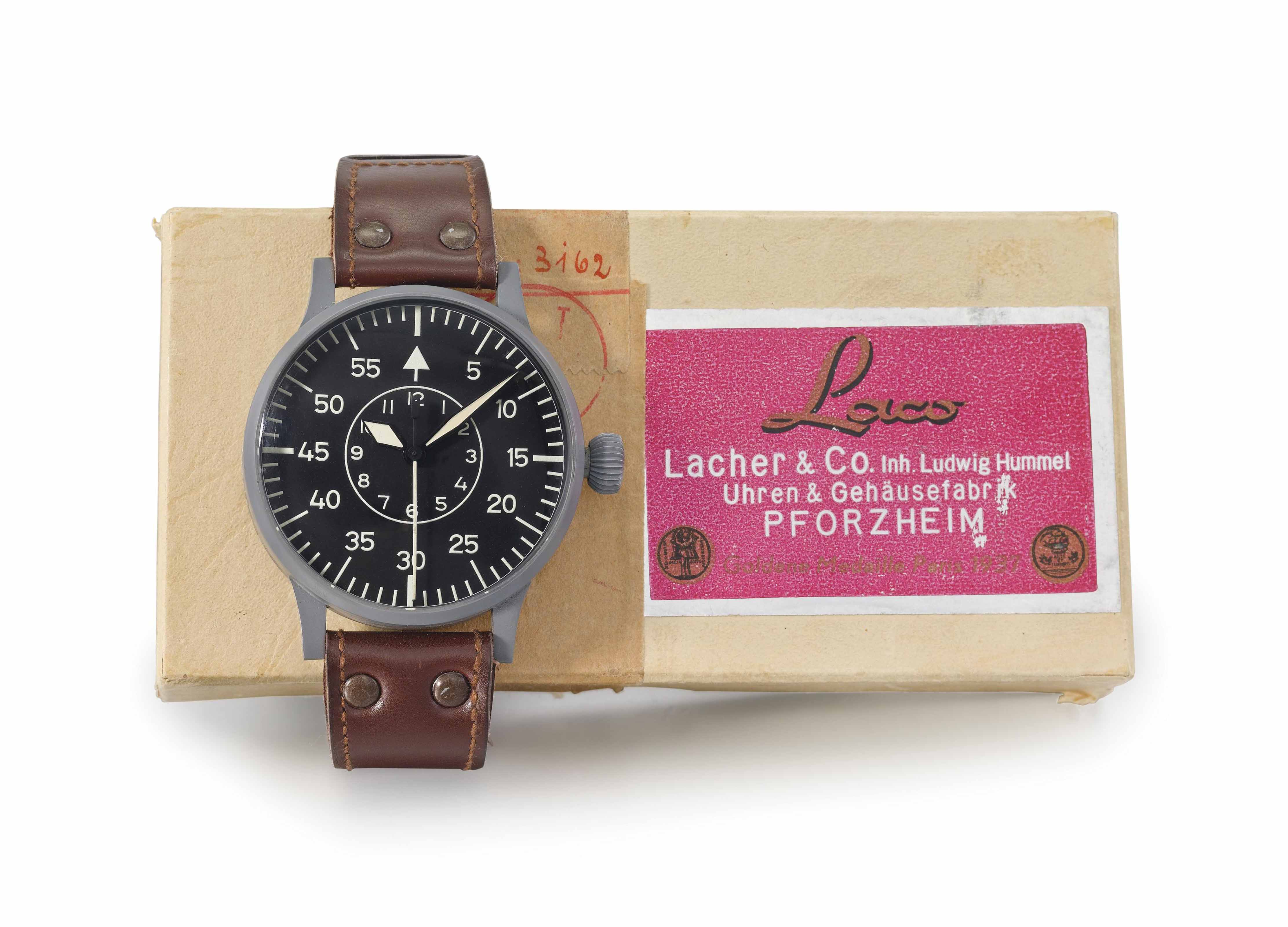 Laco. A stainless steel oversized pilot's wristwatch with indirect sweep centre seconds and hack feature, made for the German Air Force