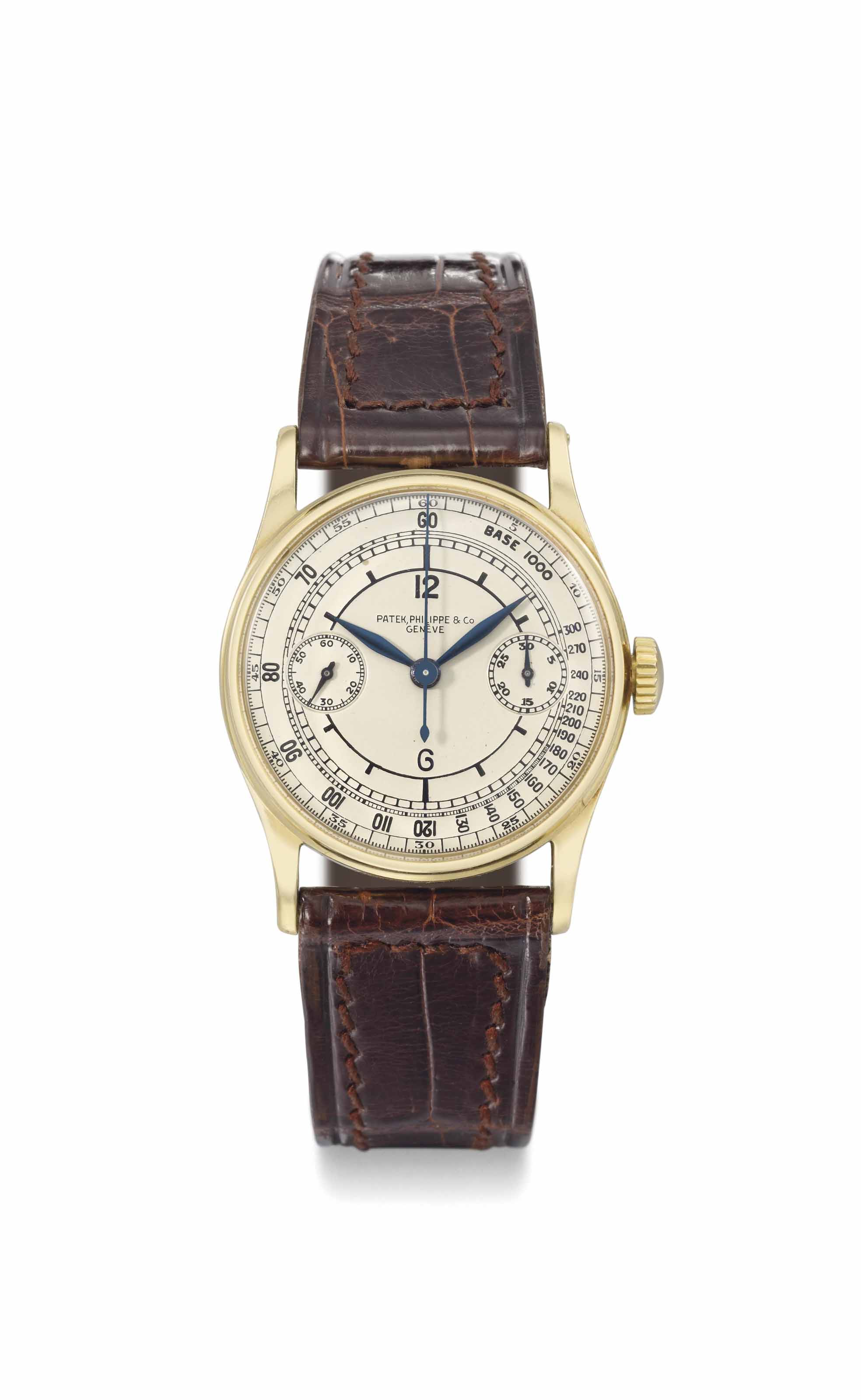 Patek Philippe. An extremely fine, rare and early 18K gold co-axial single button chronograph wristwatch with silvered sector dial