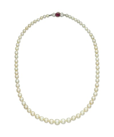 A NATURAL PEARL, RUBY AND DIAM