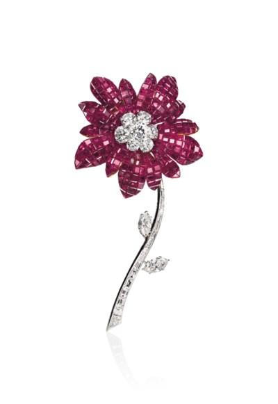A RUBY AND DIAMOND 'MAGNOLIA'