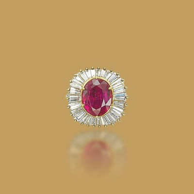 A RUBY AND DIAMOND RING, BY ME