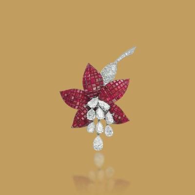 A MYSTERY-SET RUBY AND DIAMOND